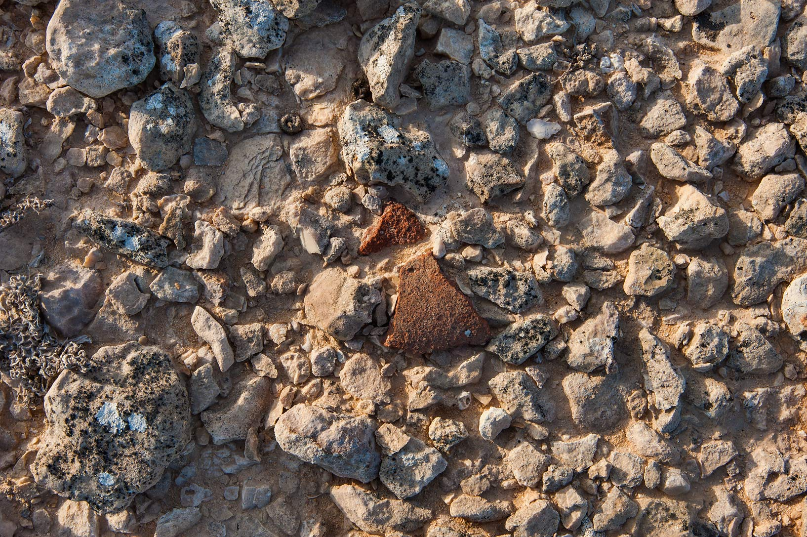 Ancient pottery on a hill in Purple Island (Jazirat Bin Ghanim). Al Khor, Qatar