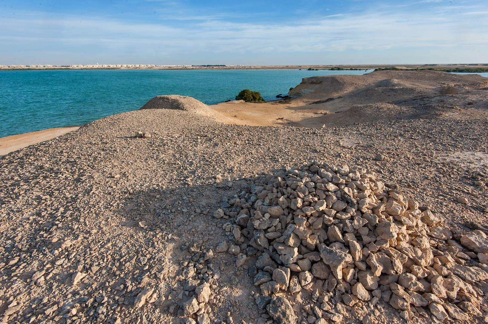 Pile of stones on a hill in Purple Island (Jazirat Bin Ghanim). Al Khor, Qatar