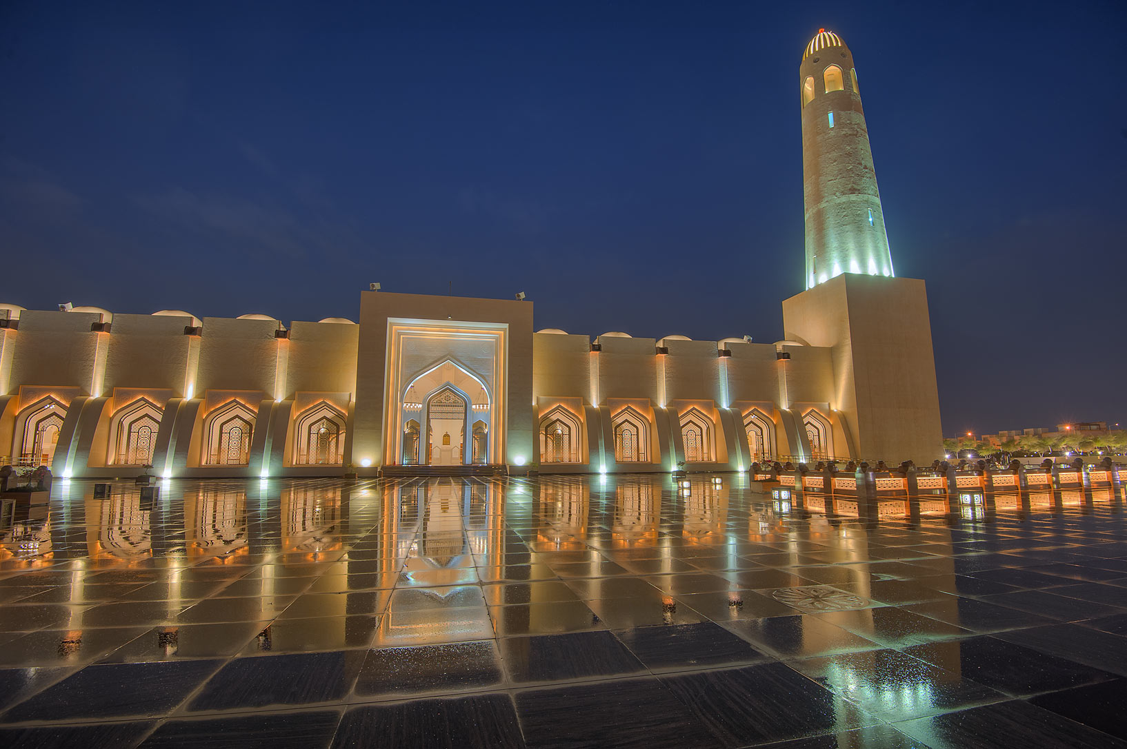 Reflections of State Mosque (Sheikh Muhammad Ibn...Mosque) after a rain. Doha, Qatar