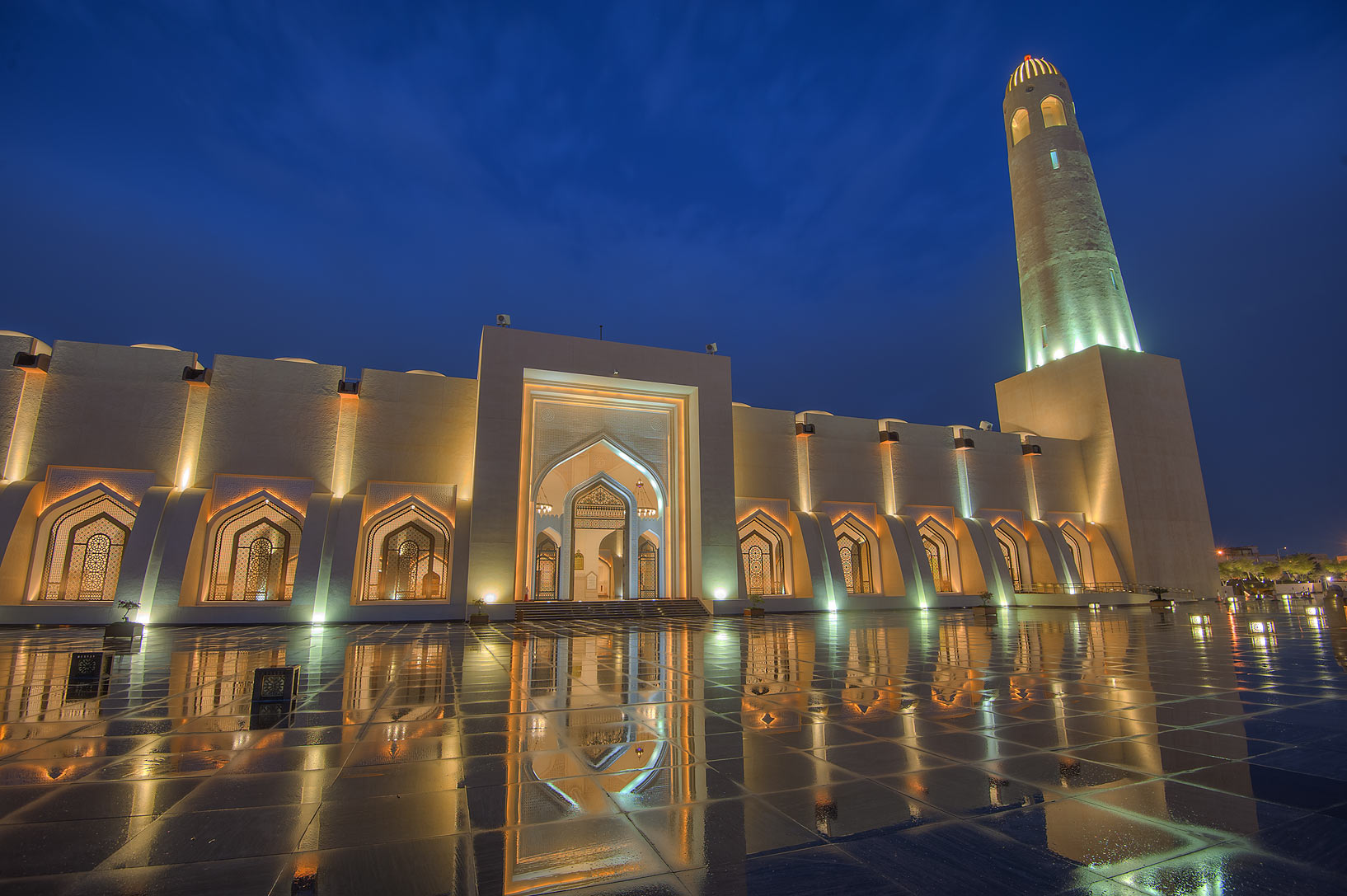 Lights of State Mosque (Sheikh Muhammad Ibn Abdul Wahhab Mosque). Doha, Qatar