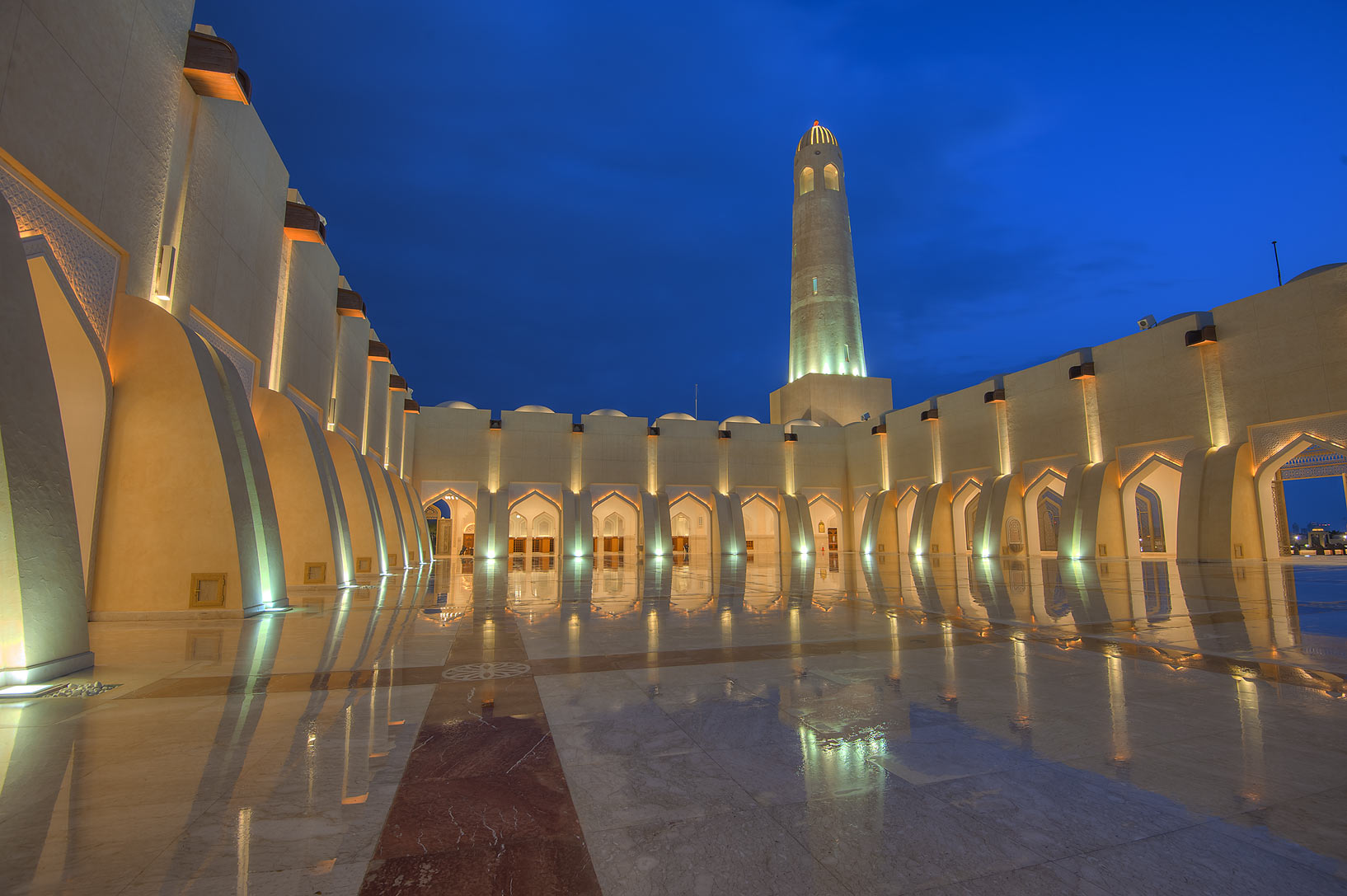Women's courtyard of State Mosque (Sheikh...Mosque) at morning dusk. Doha, Qatar