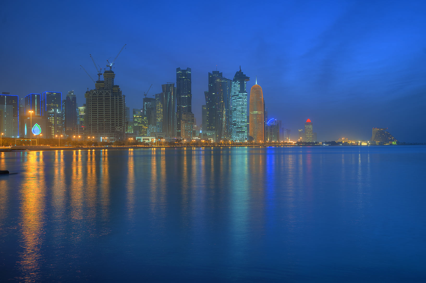View of West Bay from area of Balhambar Restaurant on Corniche Promenade. Doha, Qatar