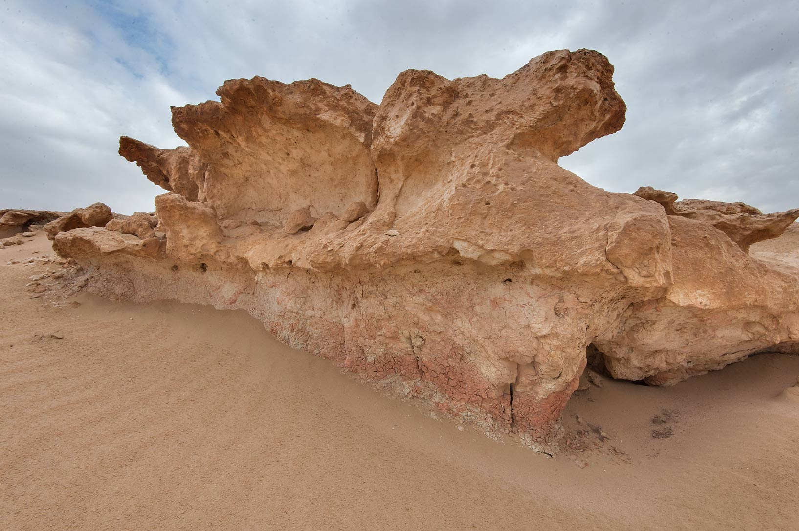 Mushroom-shaped limestone cliff in Harrarah (Al Kharrarah). Southern Qatar