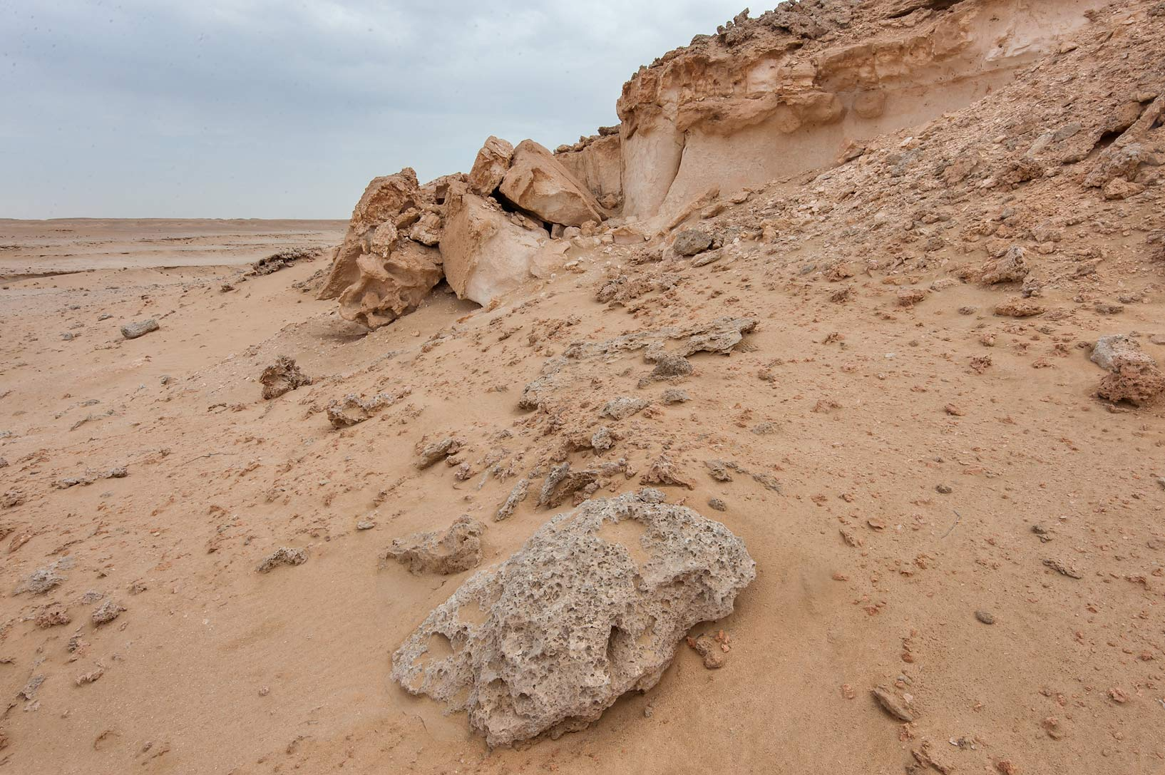 Weathered limestone cliffs in Harrarah (Al Kharrarah). Southern Qatar