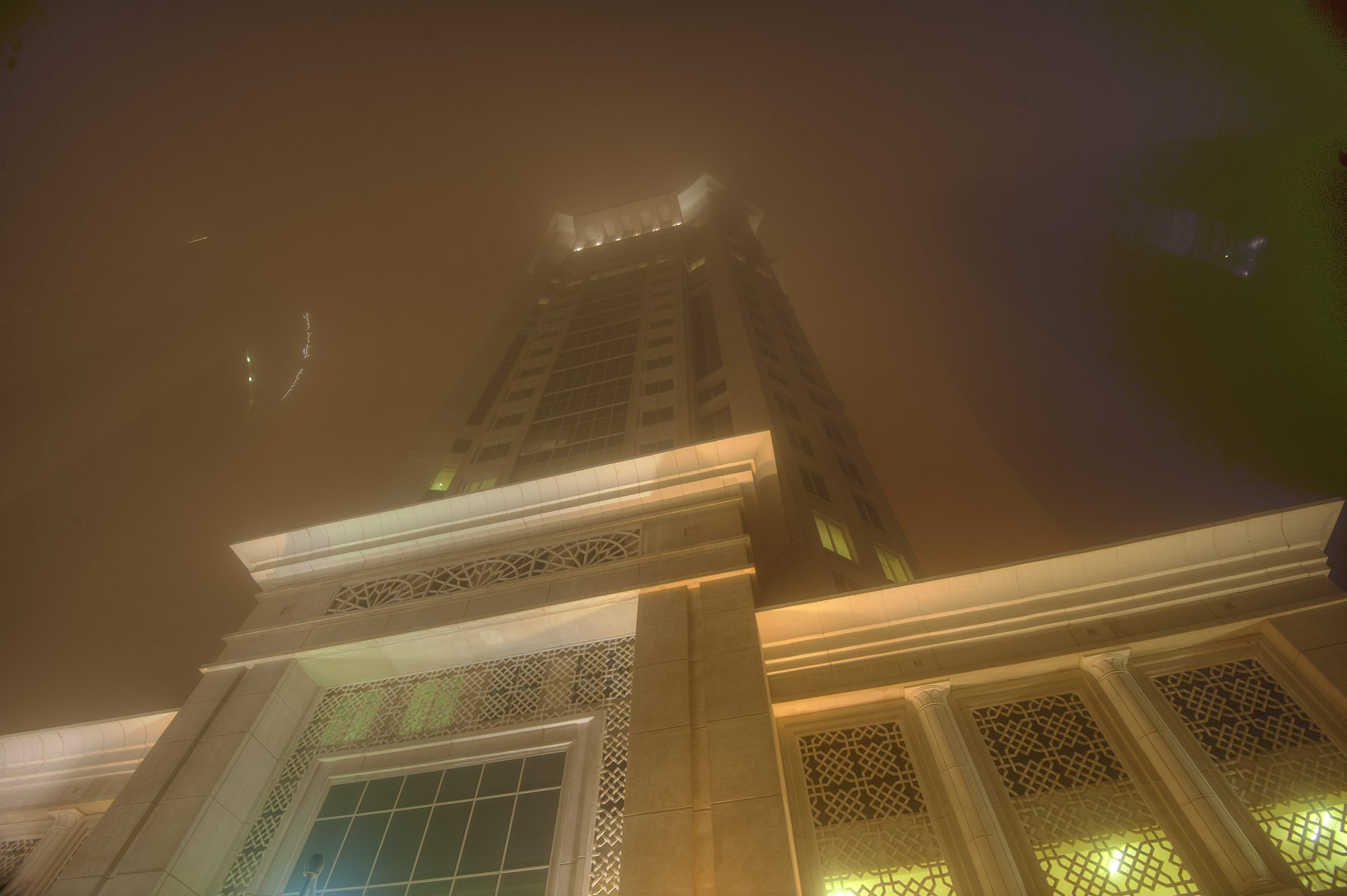 Al Gassar in West Bay during dust storm. Doha, Qatar