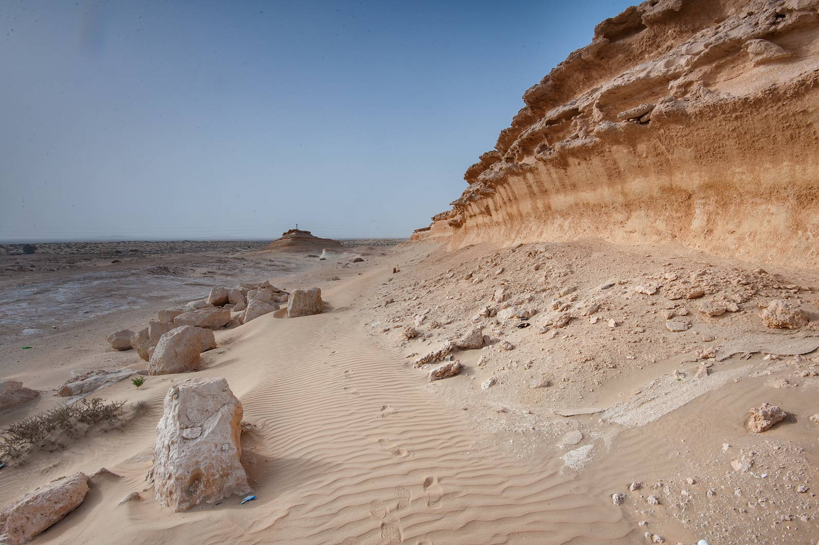 Small cliff near Salwa Rd. in area of Rawdat Ekdaim. Southern Qatar