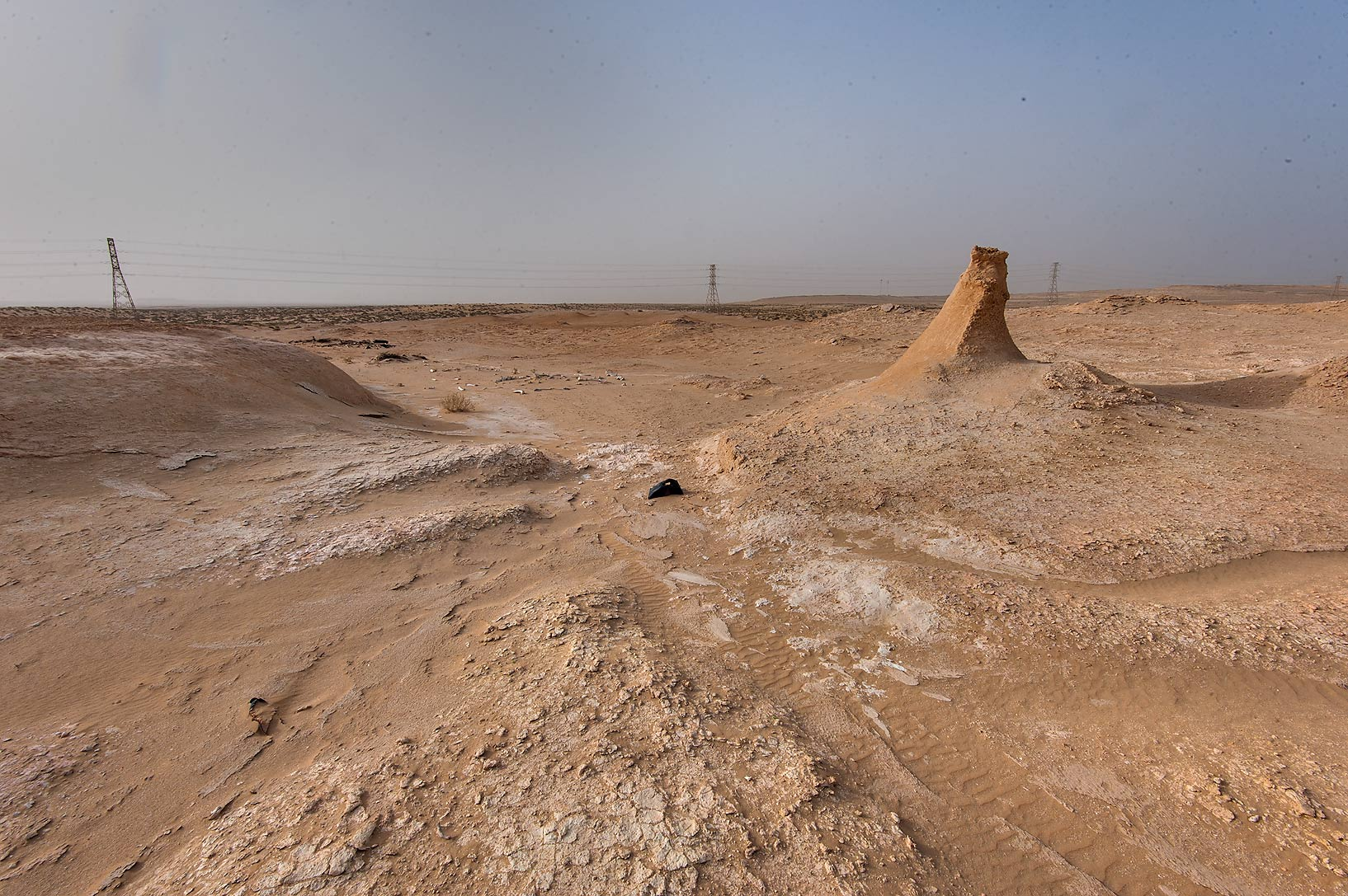 Erosion of limestone near Salwa Rd. in area of Rawdat Ekdaim. Southern Qatar