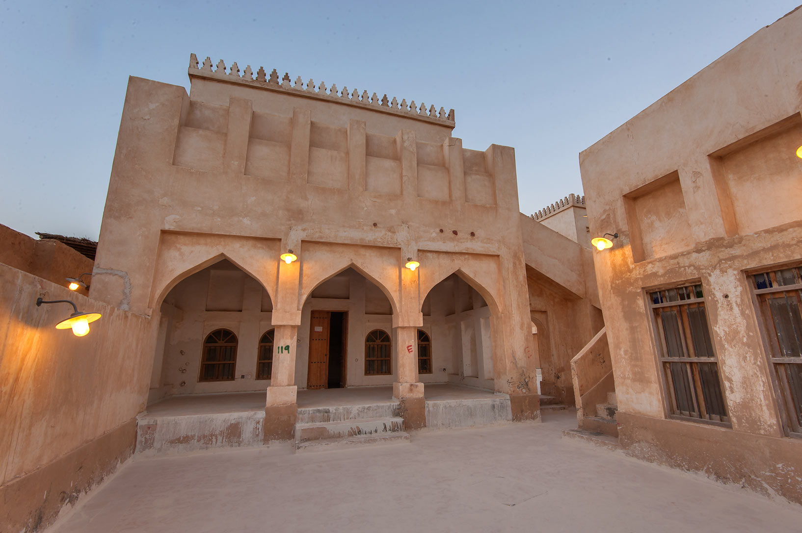 Arched gallery in Al Wakra Heritage Village (Souq Waqif in Al Wakrah). Qatar