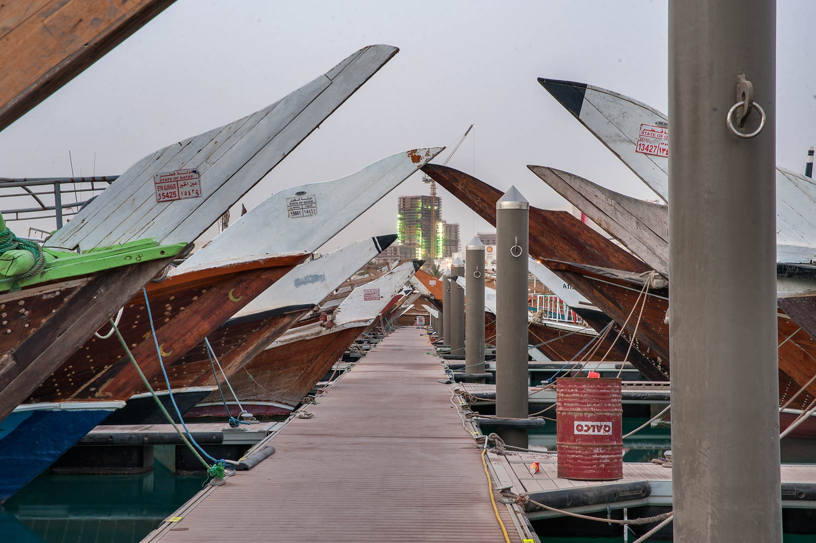 Dhow fishing boats on a boat pier. Doha, Qatar