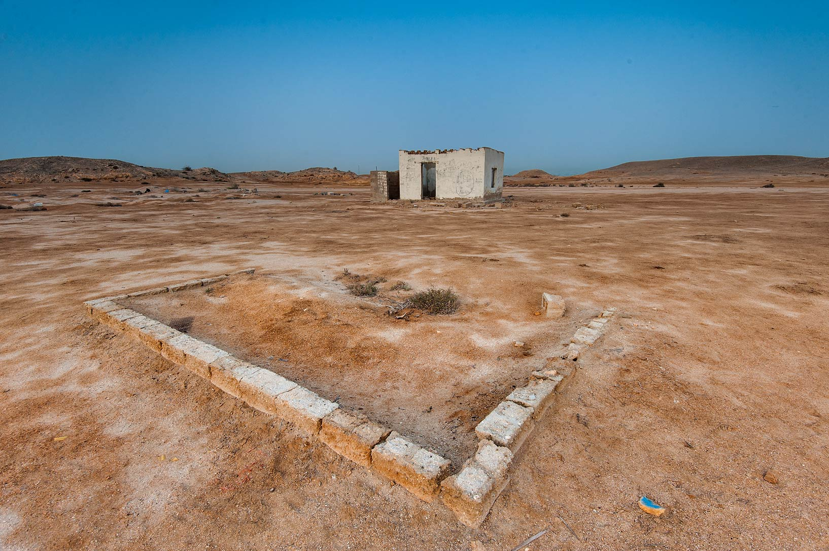 Ruins of a camp of archeological expedition on...Jazirat Bin Ghanim). Al Khor, Qatar