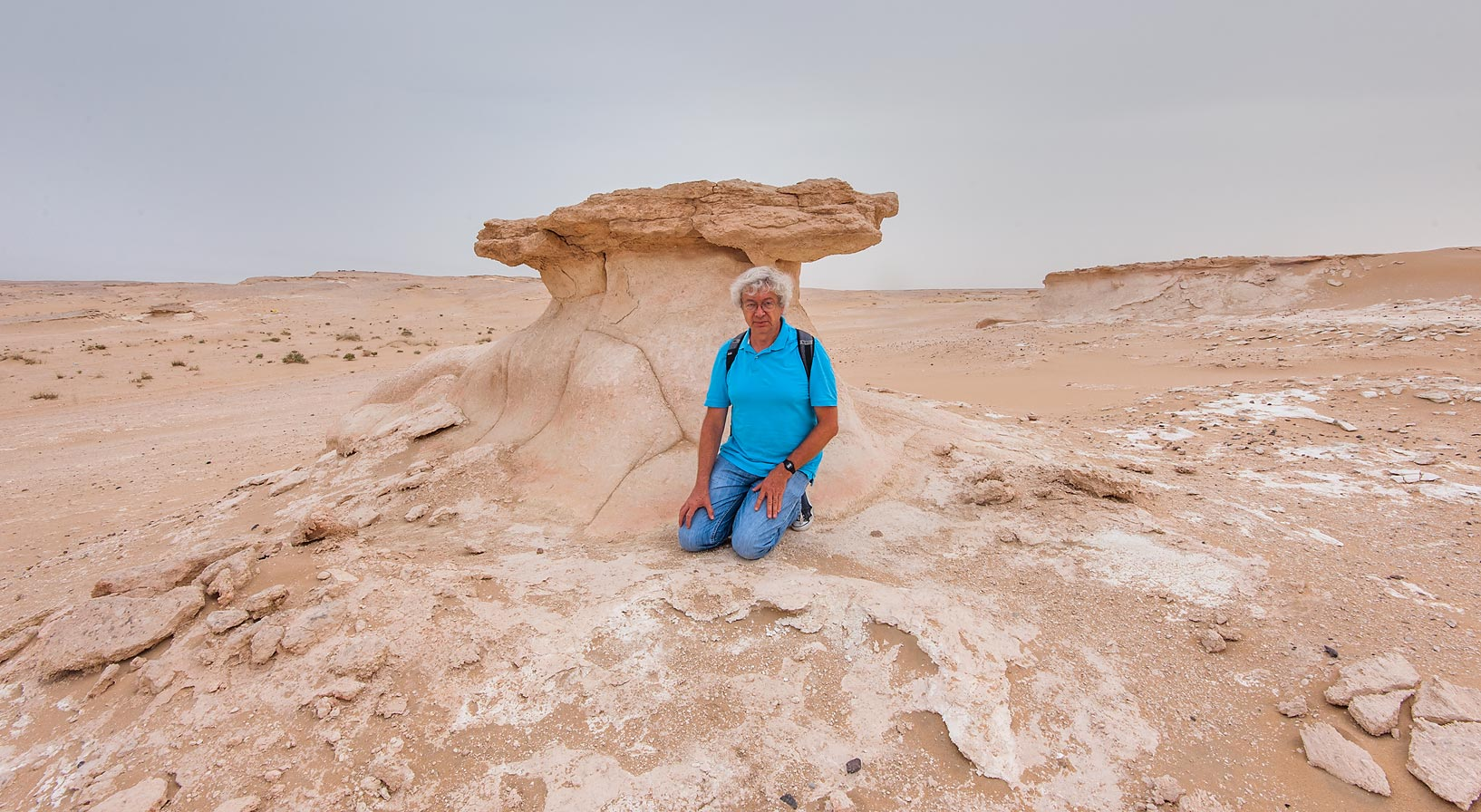 A.S. near limestone mushroom formation in area of...near Salwa Rd. in southern Qatar