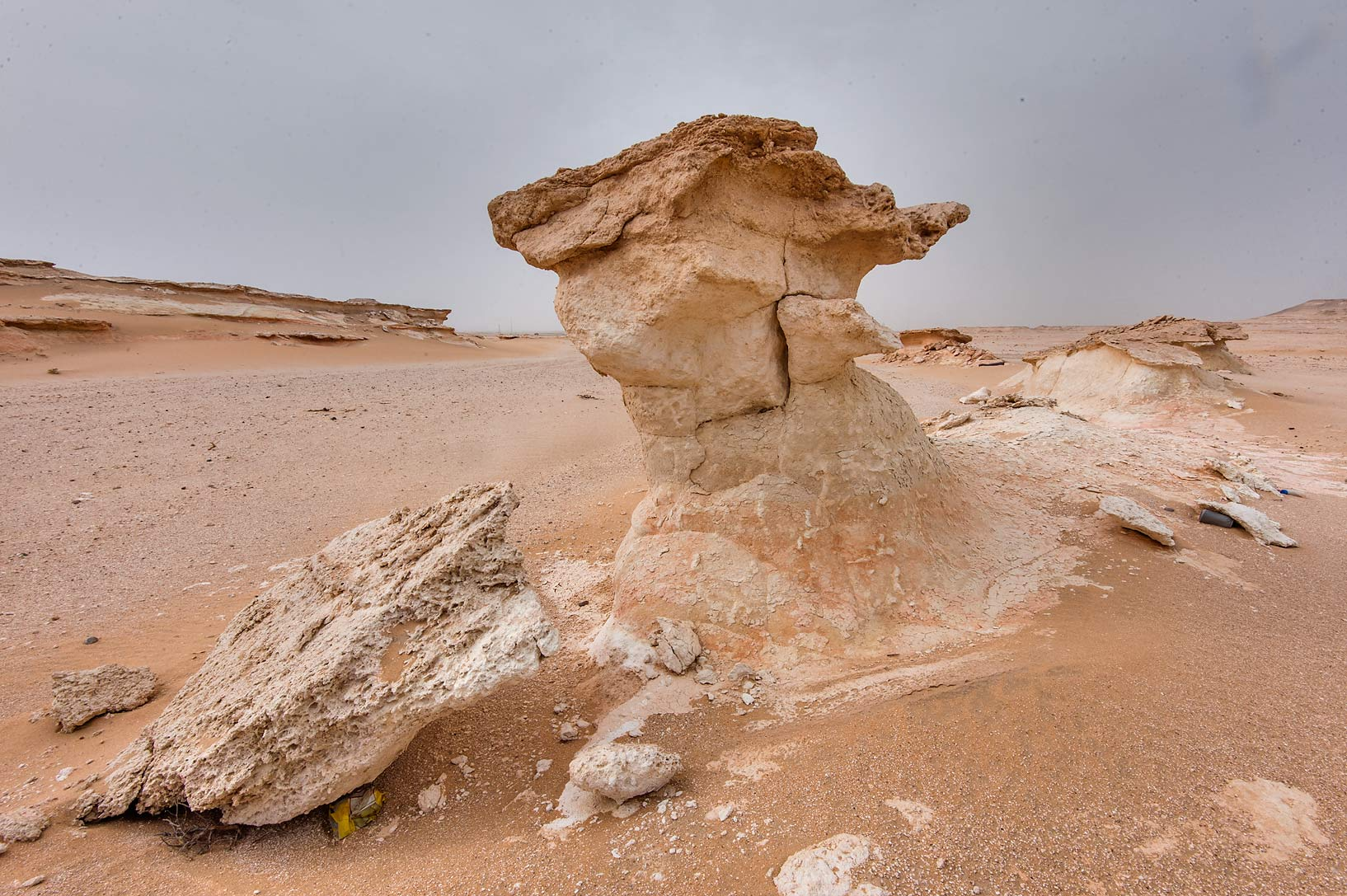 Eroded limestone mushroom in area of Nakhsh Mountain near Salwa Rd. in southern Qatar