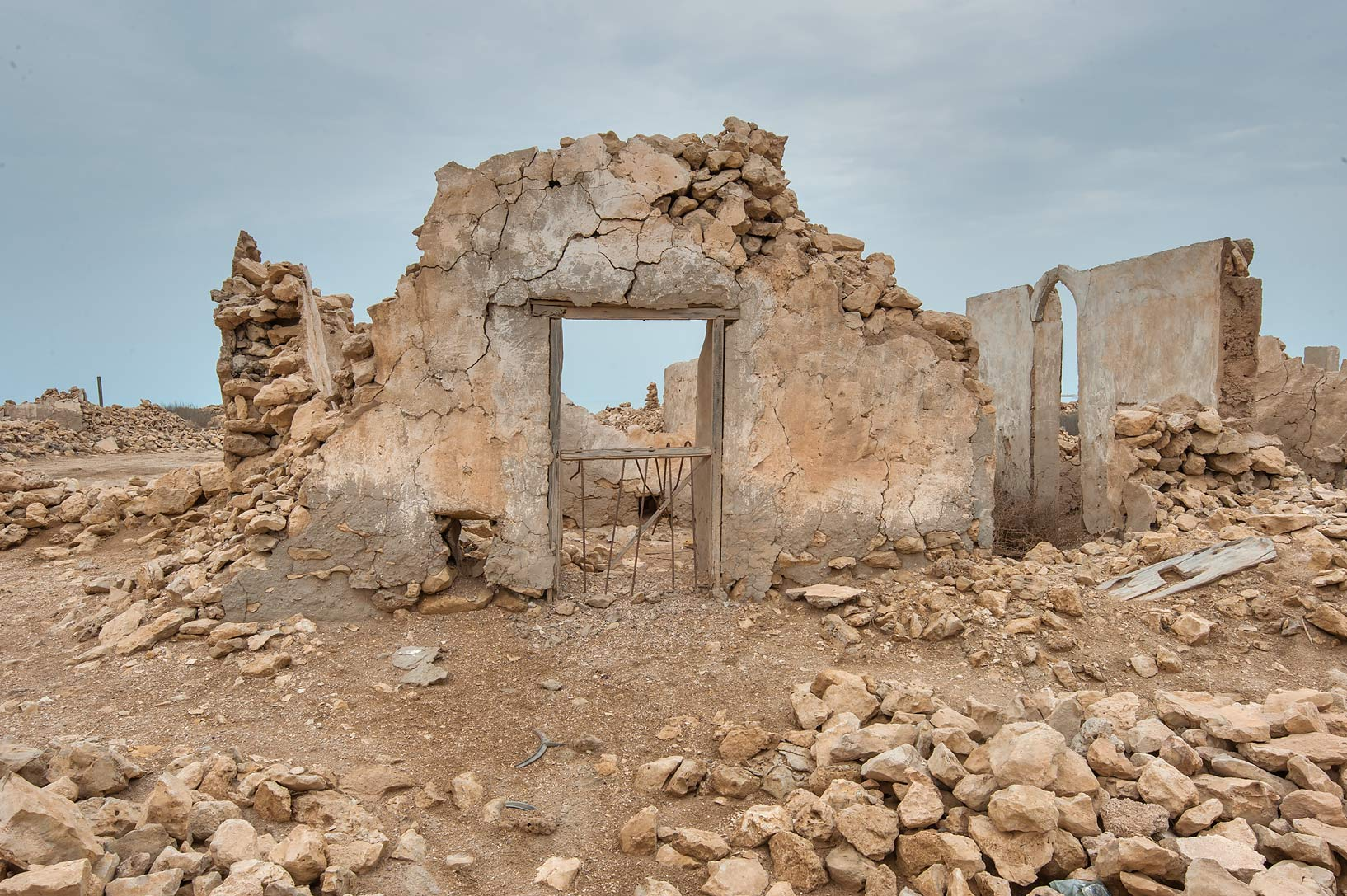 Stone gates in a village of Al Jumail (Jumayl) west of Ruwais. Northern Qatar