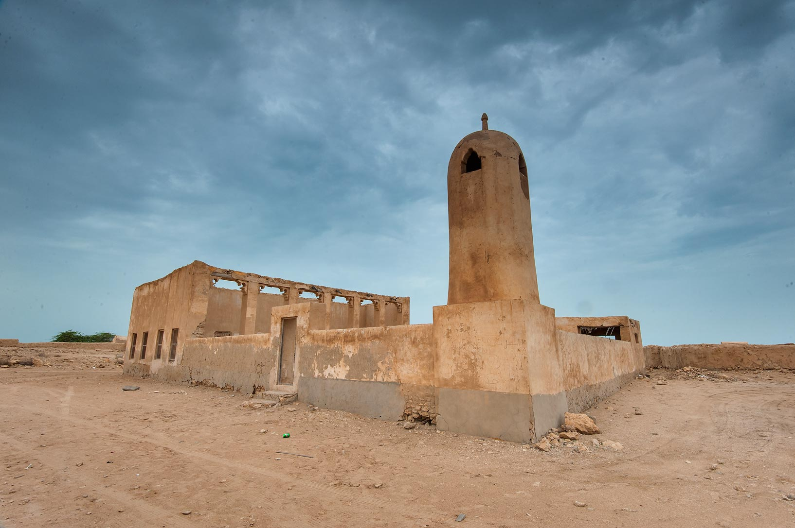 Al Hussein Mosque in a village of Al Jumail (Jumayl) west of Ruwais. Northern Qatar