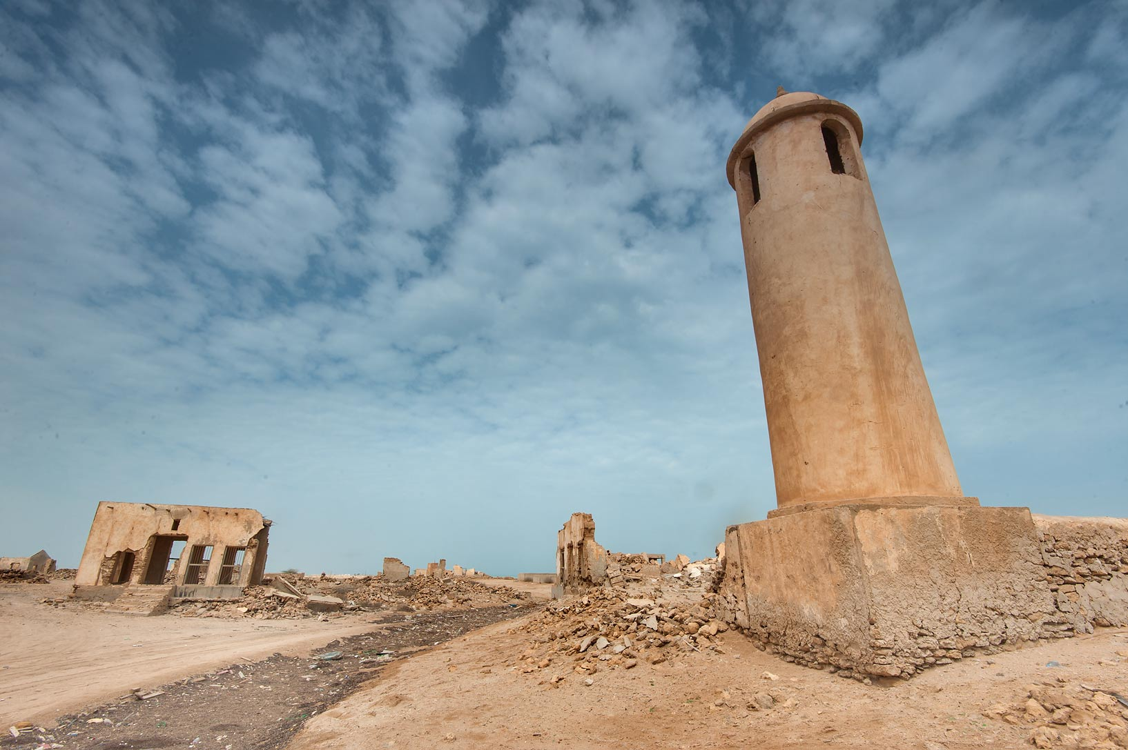 Mosque minaret at main street in a village of Al Areesh (Arish). Northern Qatar