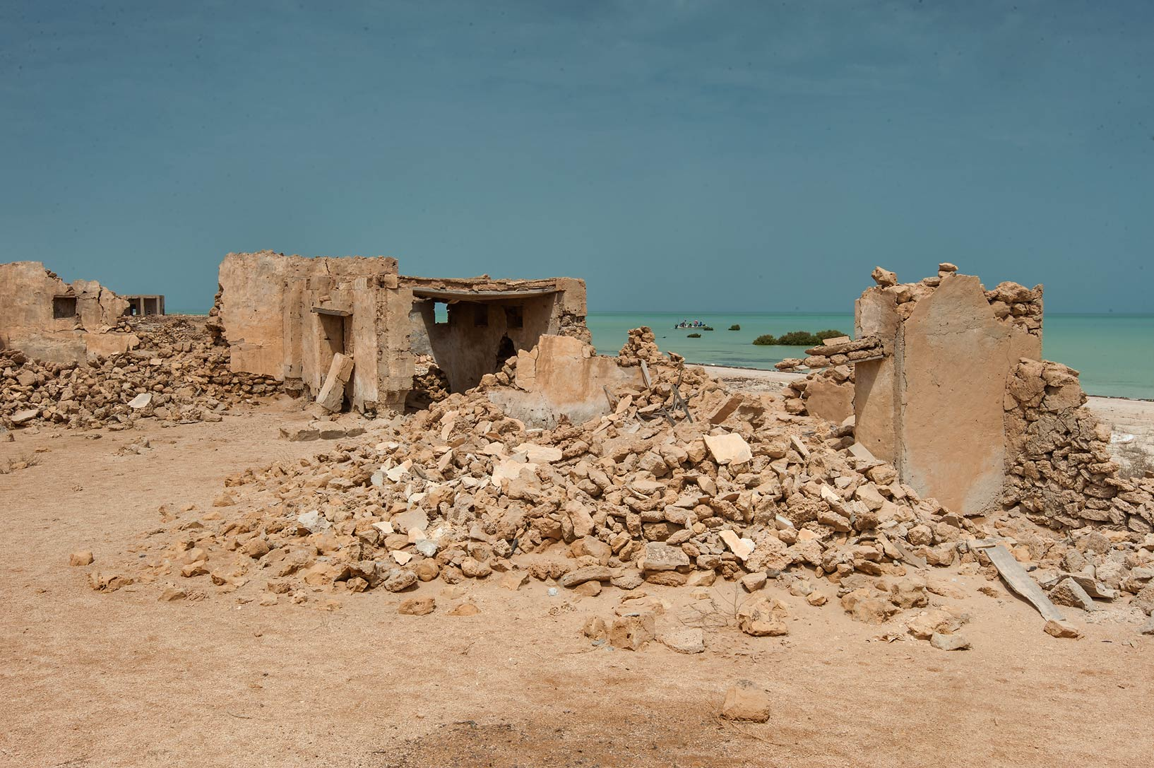 Ruins on a beach in a village of Al Areesh (Arish). Northern Qatar