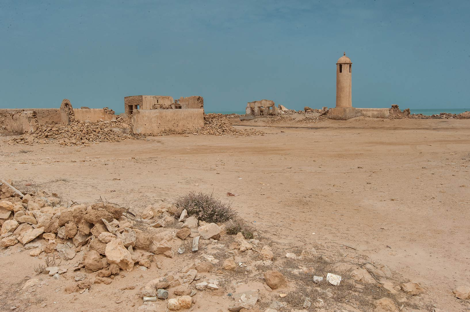 Central square with a minaret in a village of Al Areesh (Arish). Northern Qatar