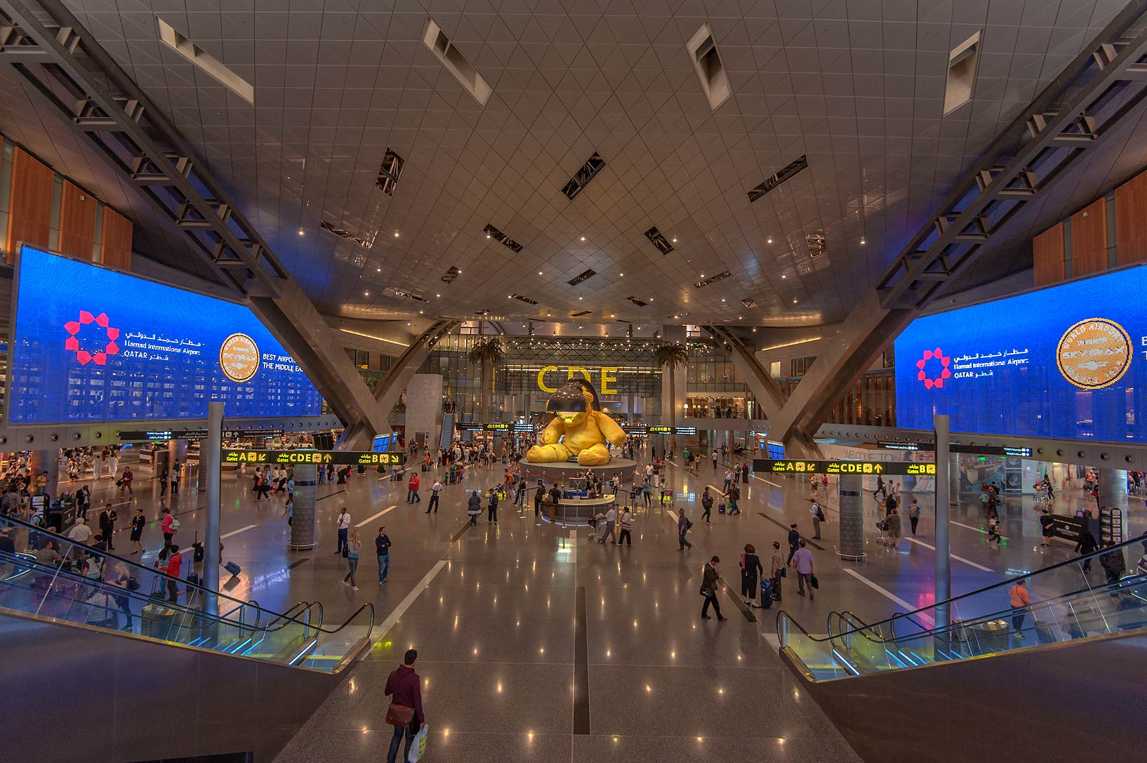 Interior of Hamad International Airport. Doha, Qatar