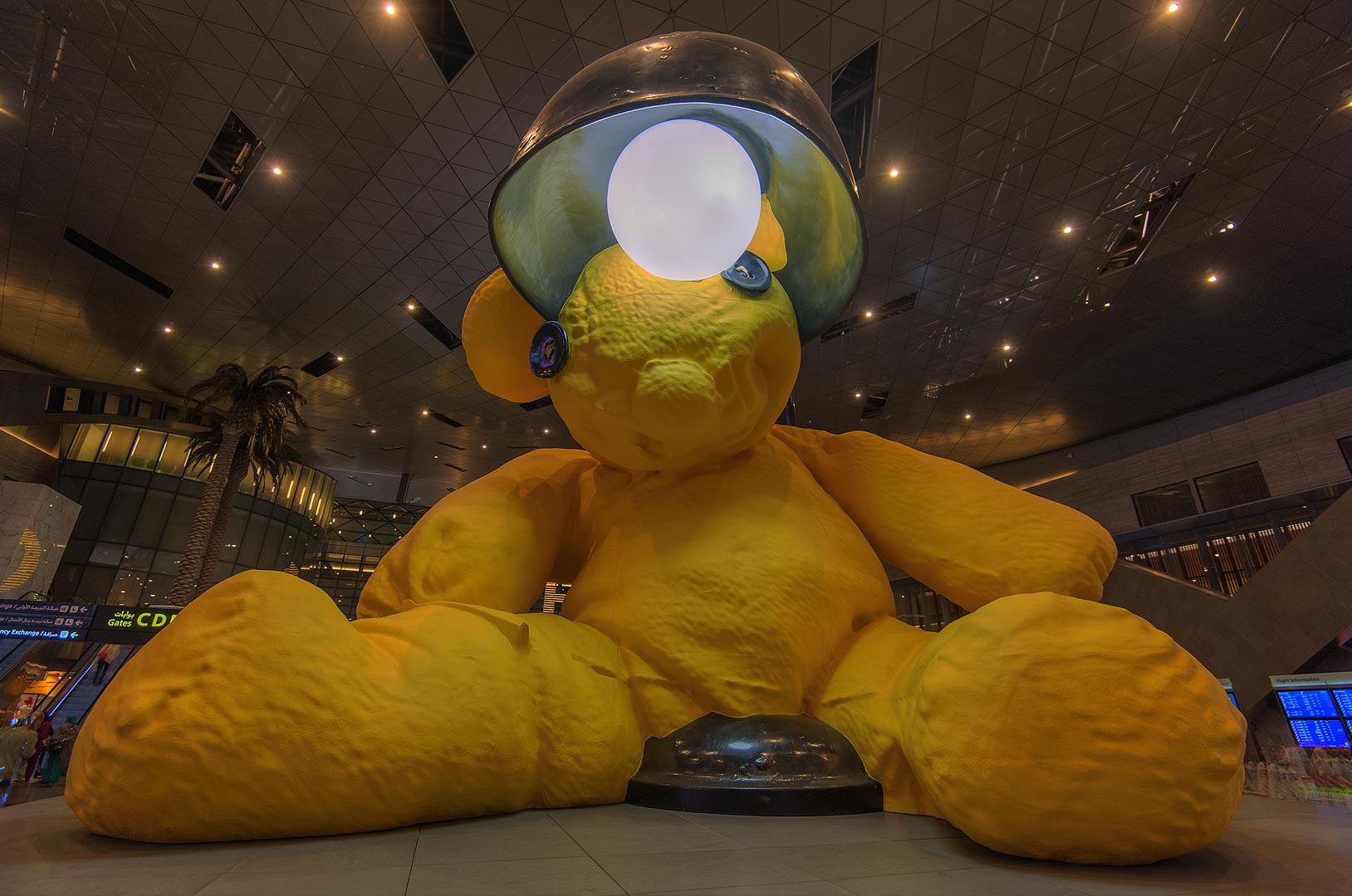 Lamp Bear sculpture by Urs Fischer in Hamad International Airport. Doha, Qatar