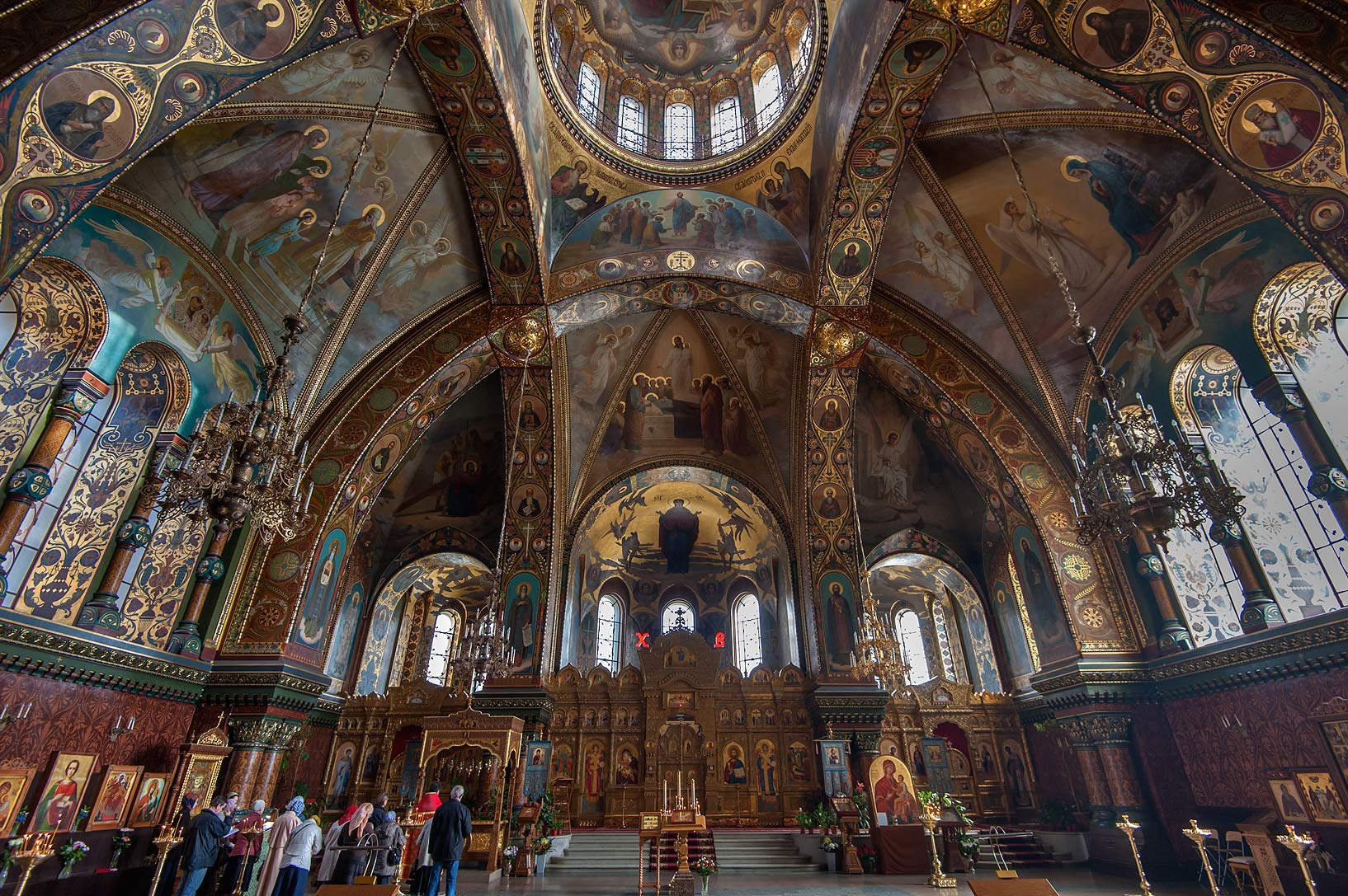 Interior of church of Dormition of the Mother of...Island. St.Petersburg, Russia