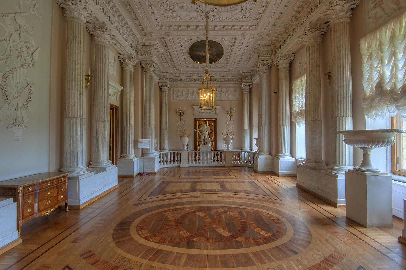 Marble Dining Room in Gatchina Palace. Gatchina, suburb of St.Petersburg, Russia