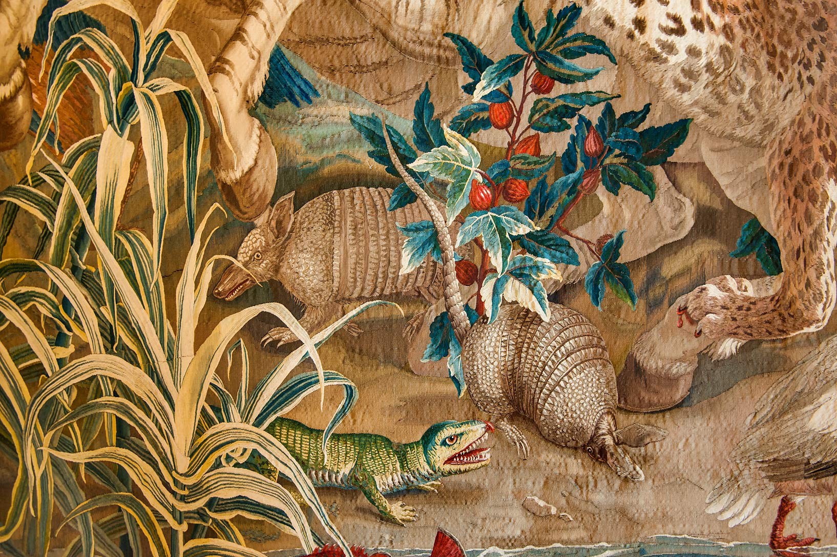 Fragment of a tapestry in Gatchina Palace. Gatchina, suburb of St.Petersburg, Russia
