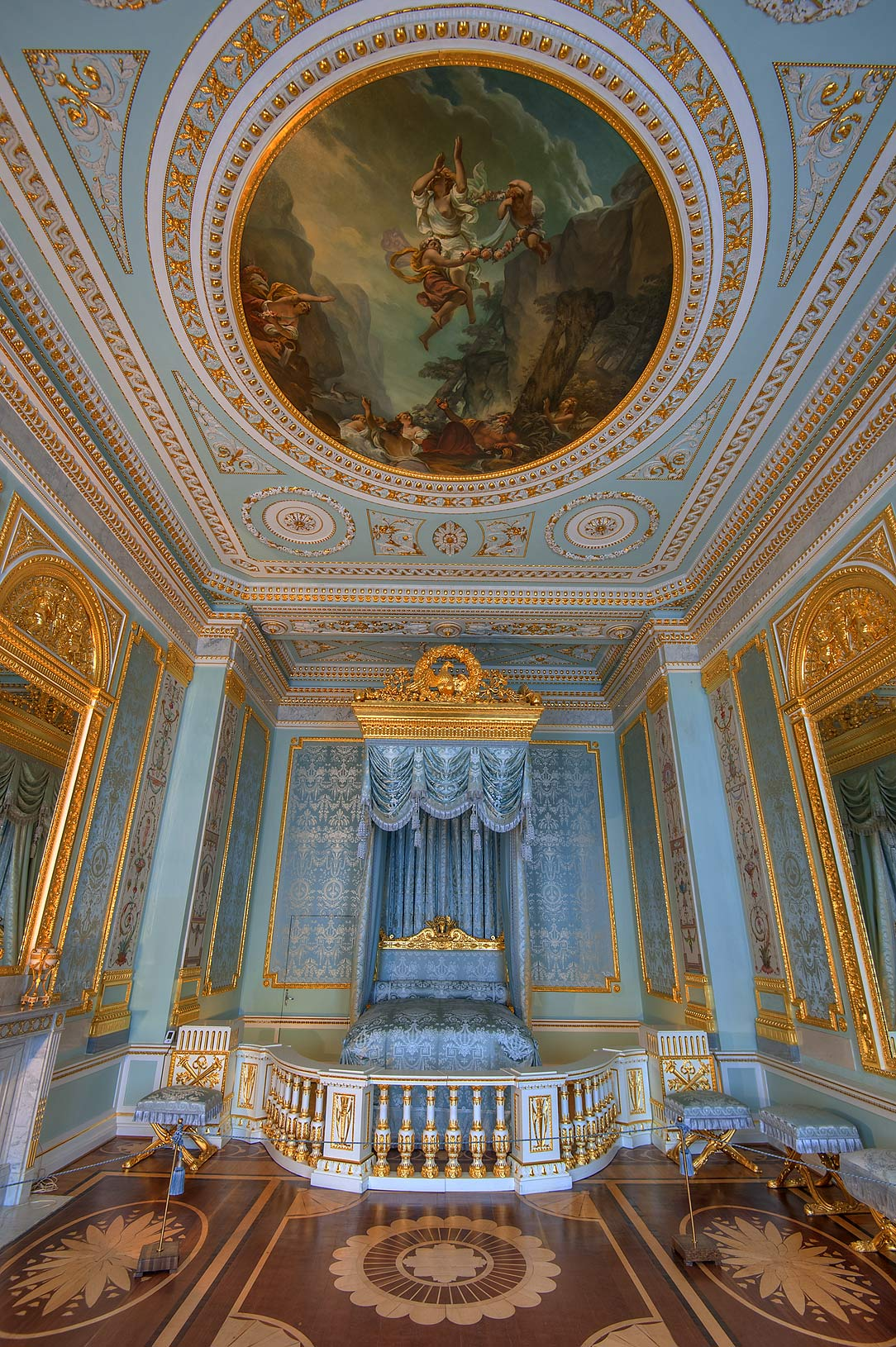 Grand blue bedroom in Gatchina Palace. Gatchina, suburb of St.Petersburg, Russia