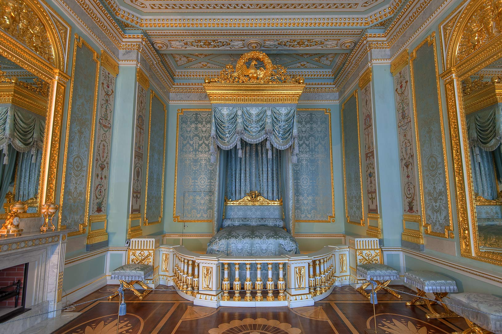 Blue drapery of a bed in Gatchina Palace. Gatchina, suburb of St.Petersburg, Russia