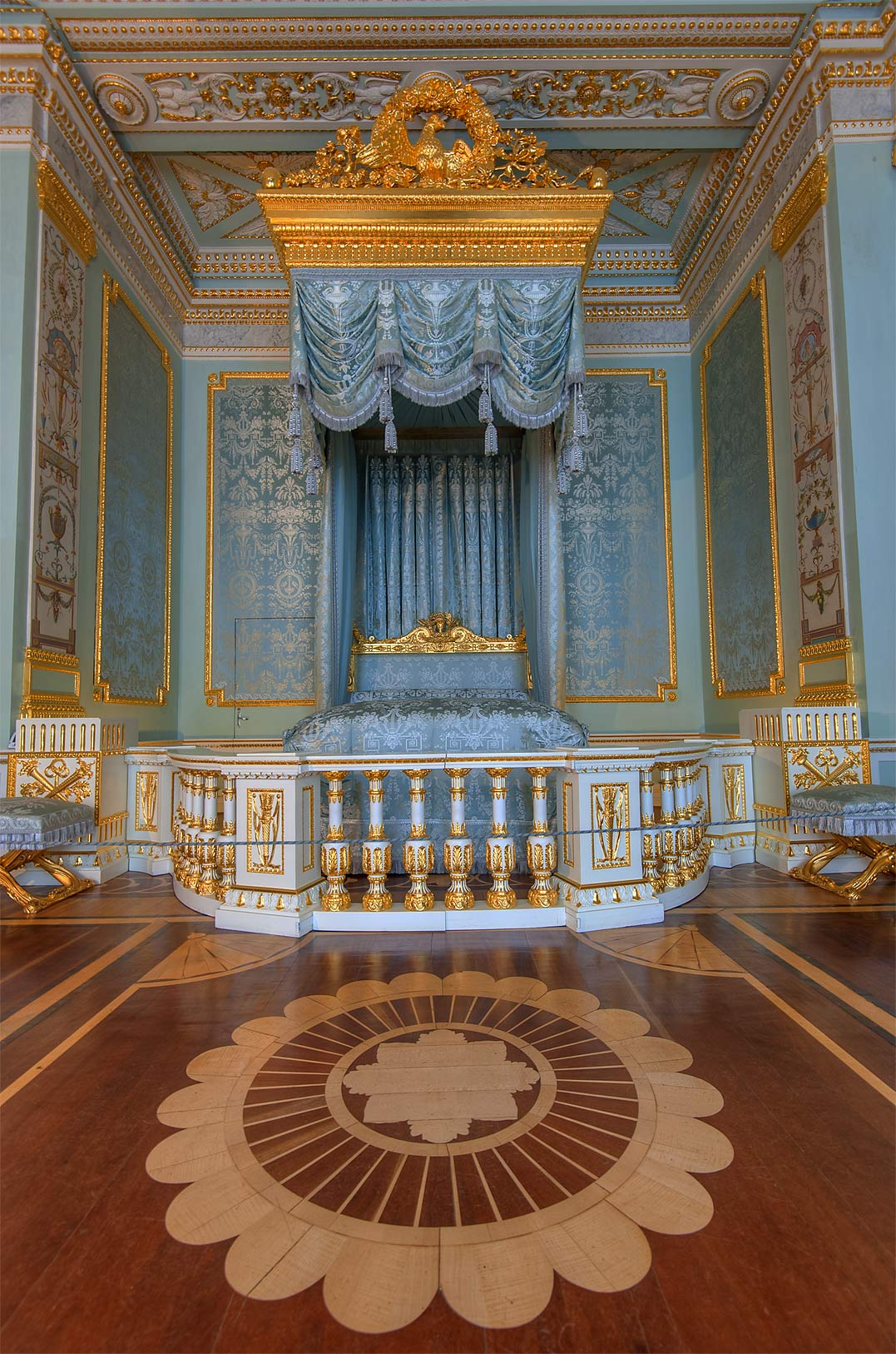 Parquet of grand blue bedroom in Gatchina Palace...suburb of St.Petersburg, Russia
