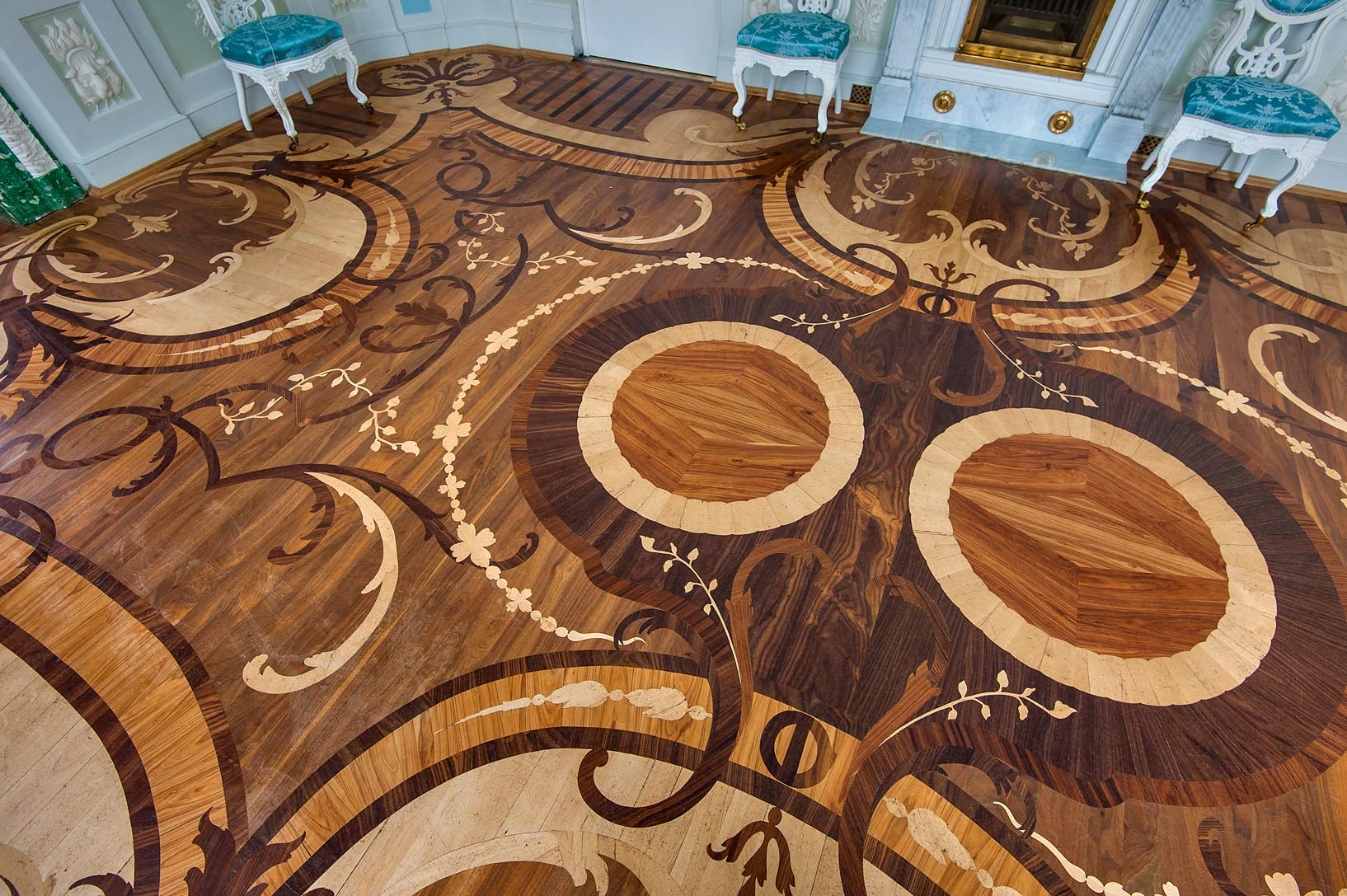 Detail of parquet of Dressing (Tualetnaya) in...suburb of St.Petersburg, Russia