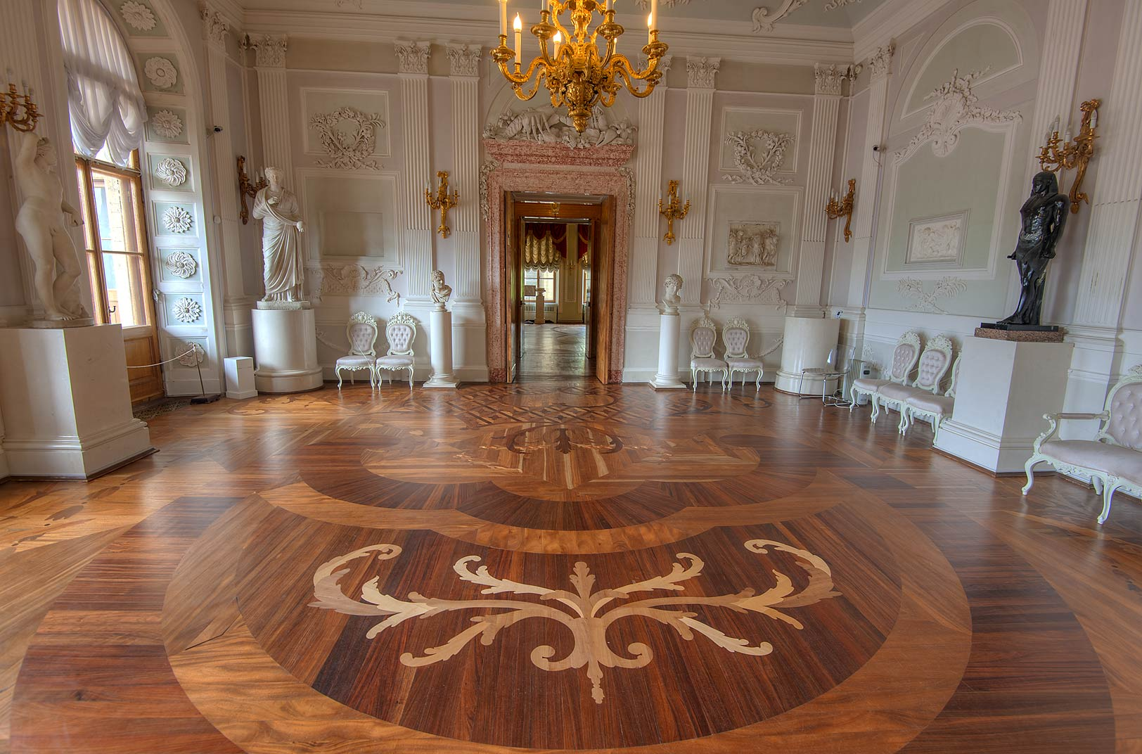 Decorations of White Hall in Gatchina Palace. Gatchina, suburb of St.Petersburg, Russia