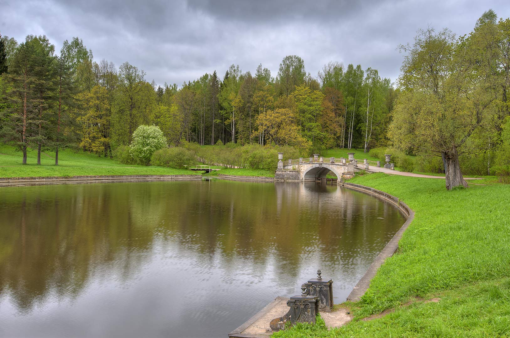 Boat pier of Slavianka River in Pavlovsk Park. Pavlovsk, suburb of St.Petersburg, Russia