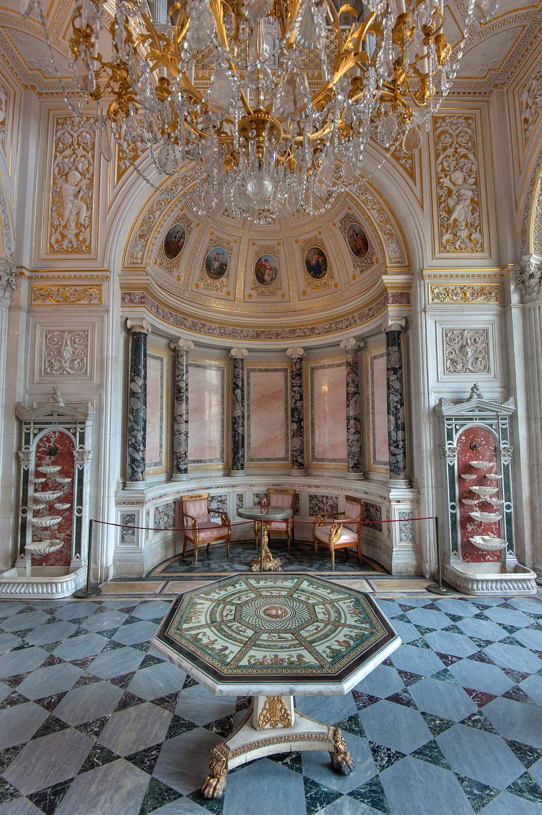 Marble decorations in Pavilion Hall in Hermitage Museum. St.Petersburg, Russia