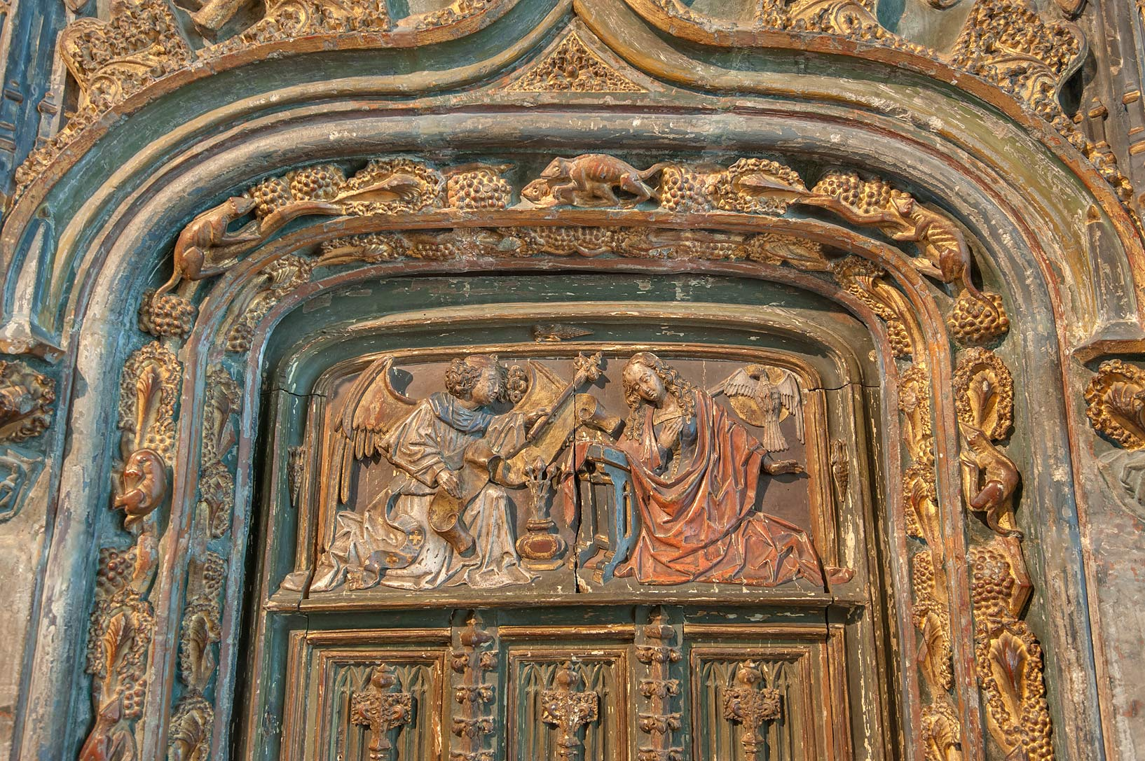 Decorated panel with angels in Hermitage Museum. St.Petersburg, Russia