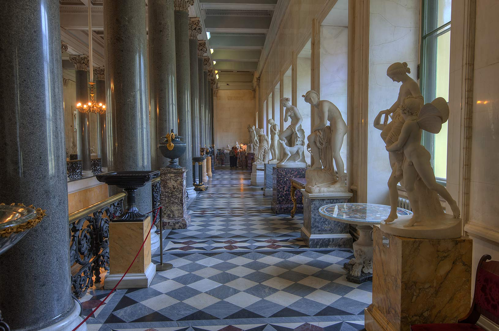 Gallery of marble sculptures above Main Staircase...Museum. St.Petersburg, Russia