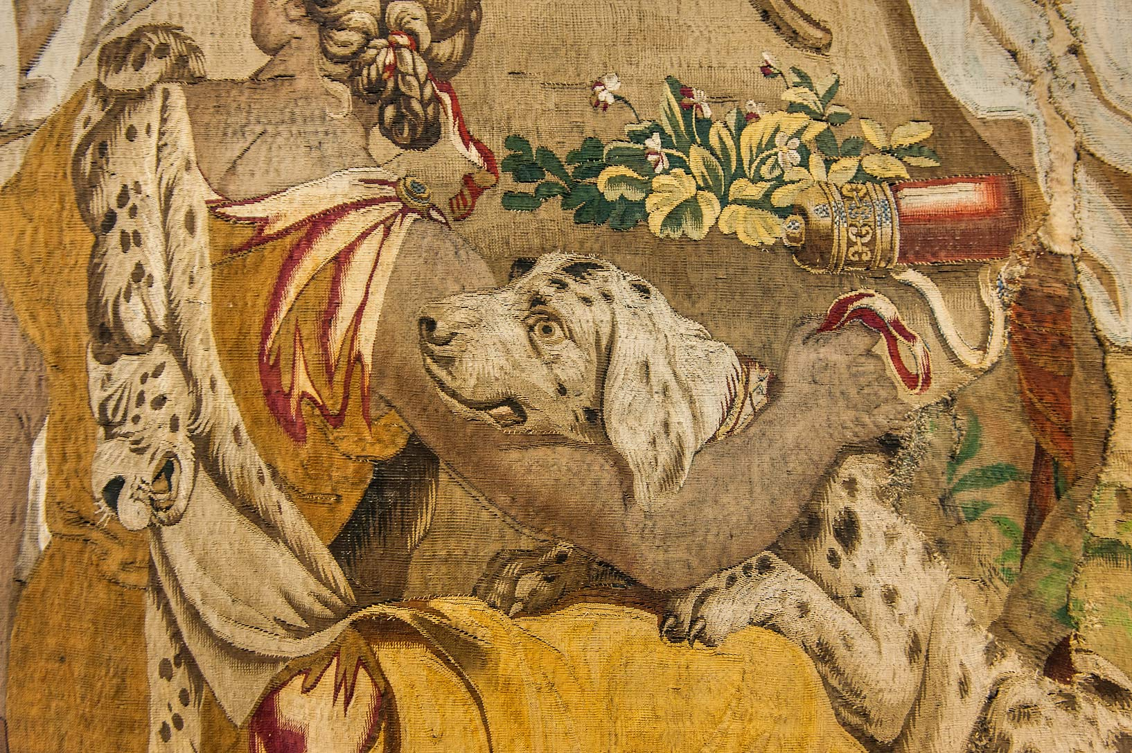 Hunting dog on tapestry in Hermitage Museum. St.Petersburg, Russia