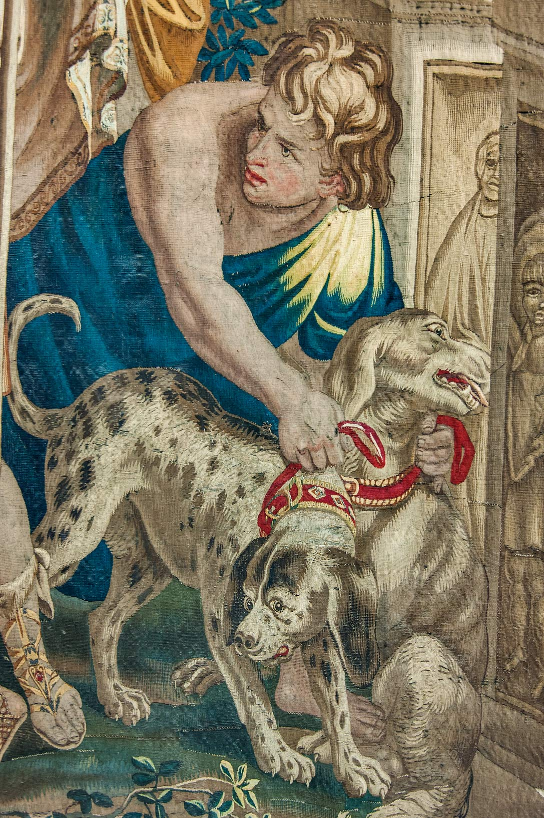 Two dogs on tapestry in Hermitage Museum. St.Petersburg, Russia