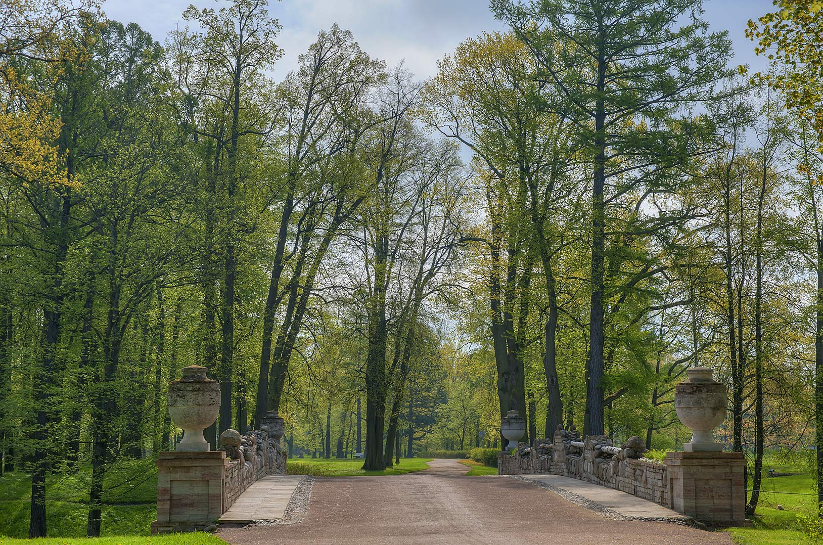 Grand Ruin Stone Bridge in Alexandria Park in Peterhof, west from St.Petersburg. Russia