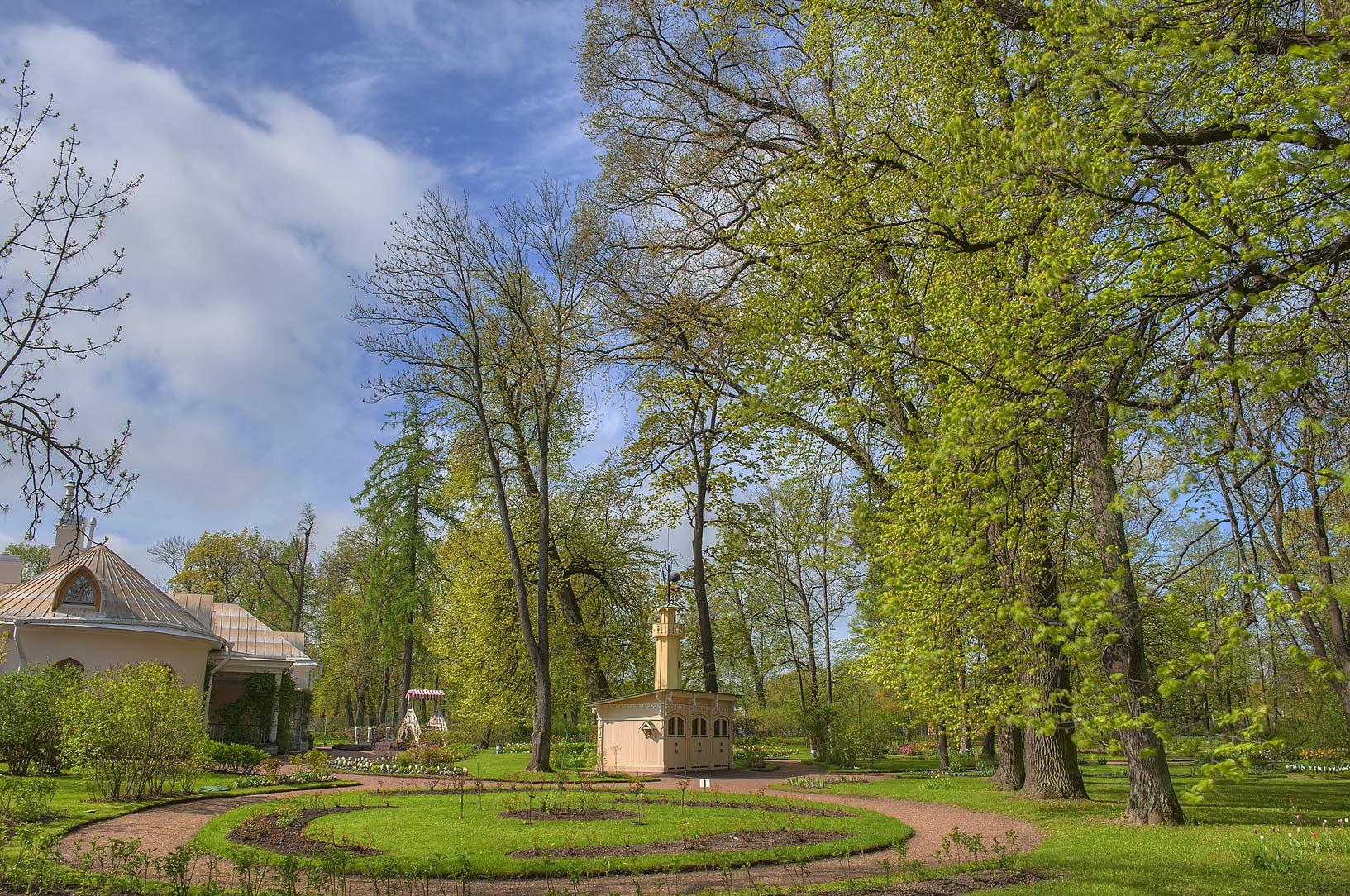 Backyard of Farm Palace of Tsar Alexander II in...west from St.Petersburg. Russia