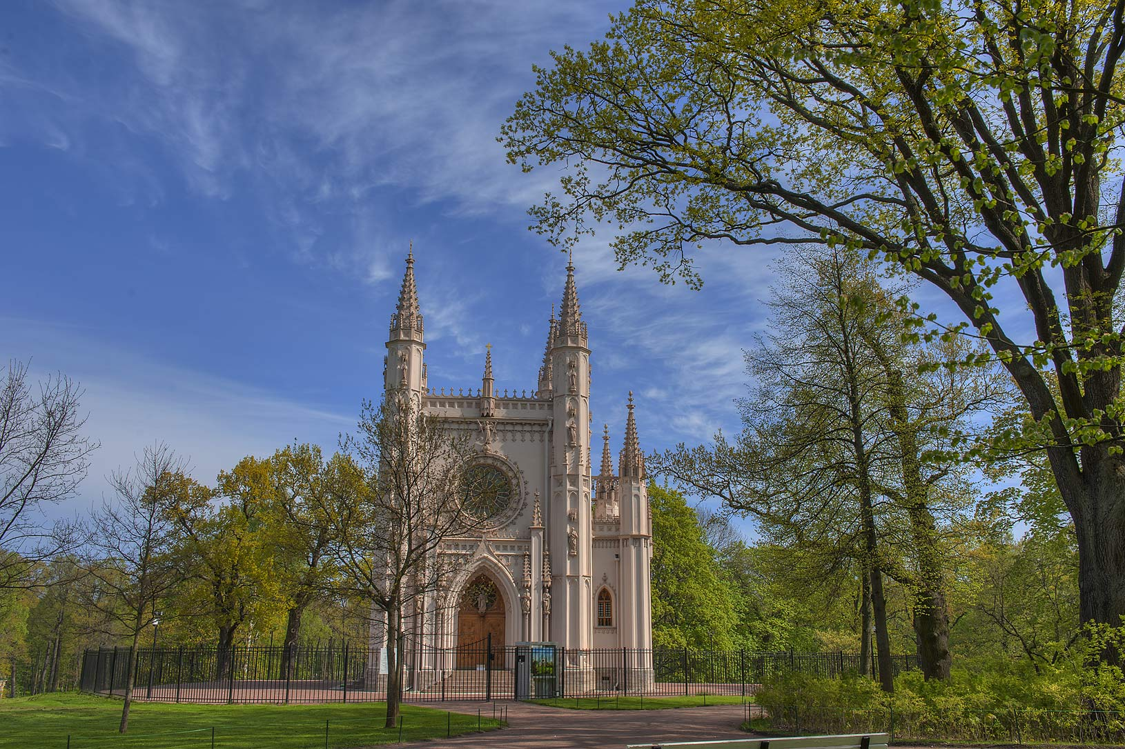 Gothic Chapel in Alexandria Park in Peterhof, west from St.Petersburg. Russia