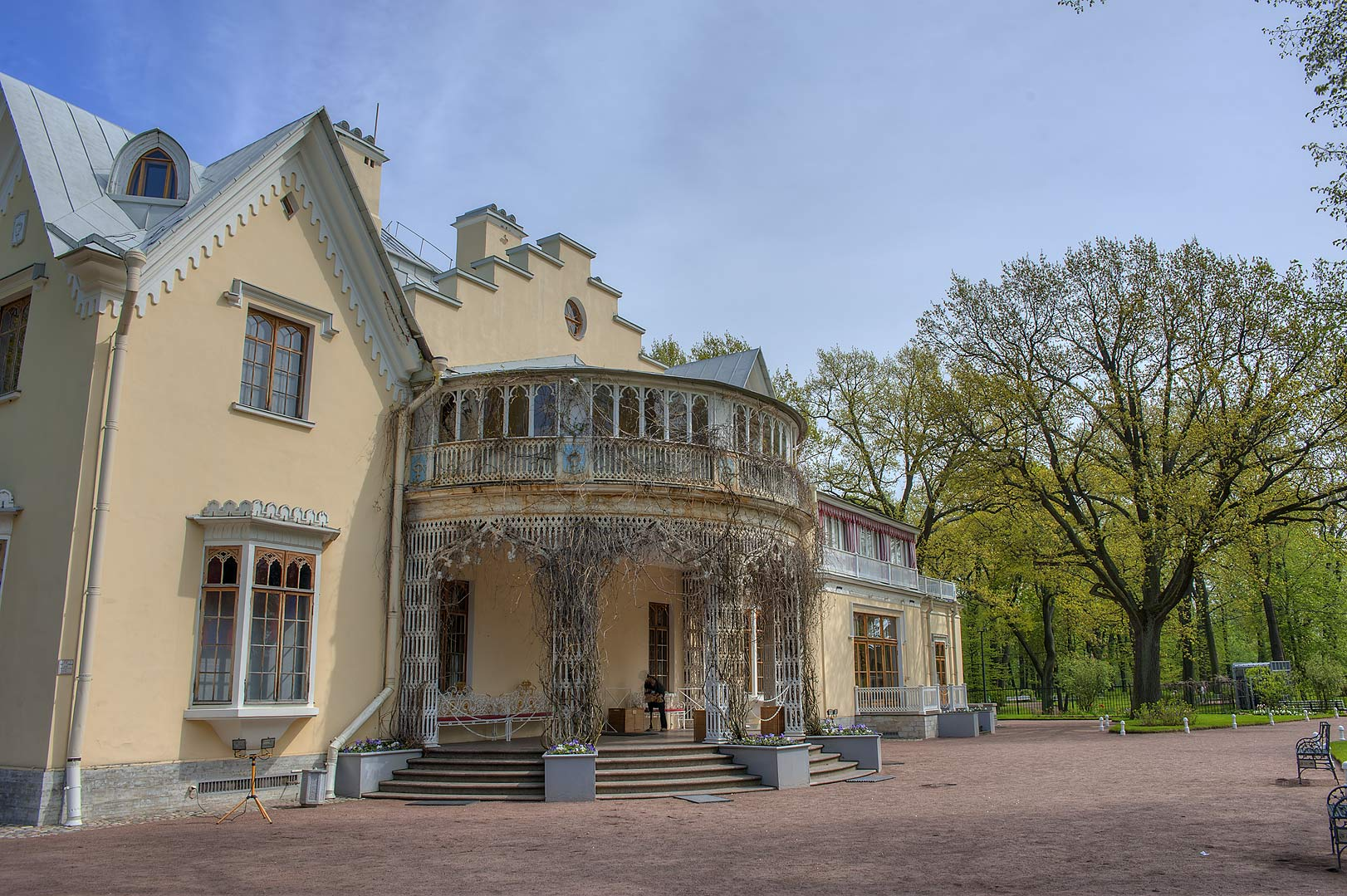 Entrance of Cottage Palace in Alexandria Park in Peterhof, west from St.Petersburg. Russia