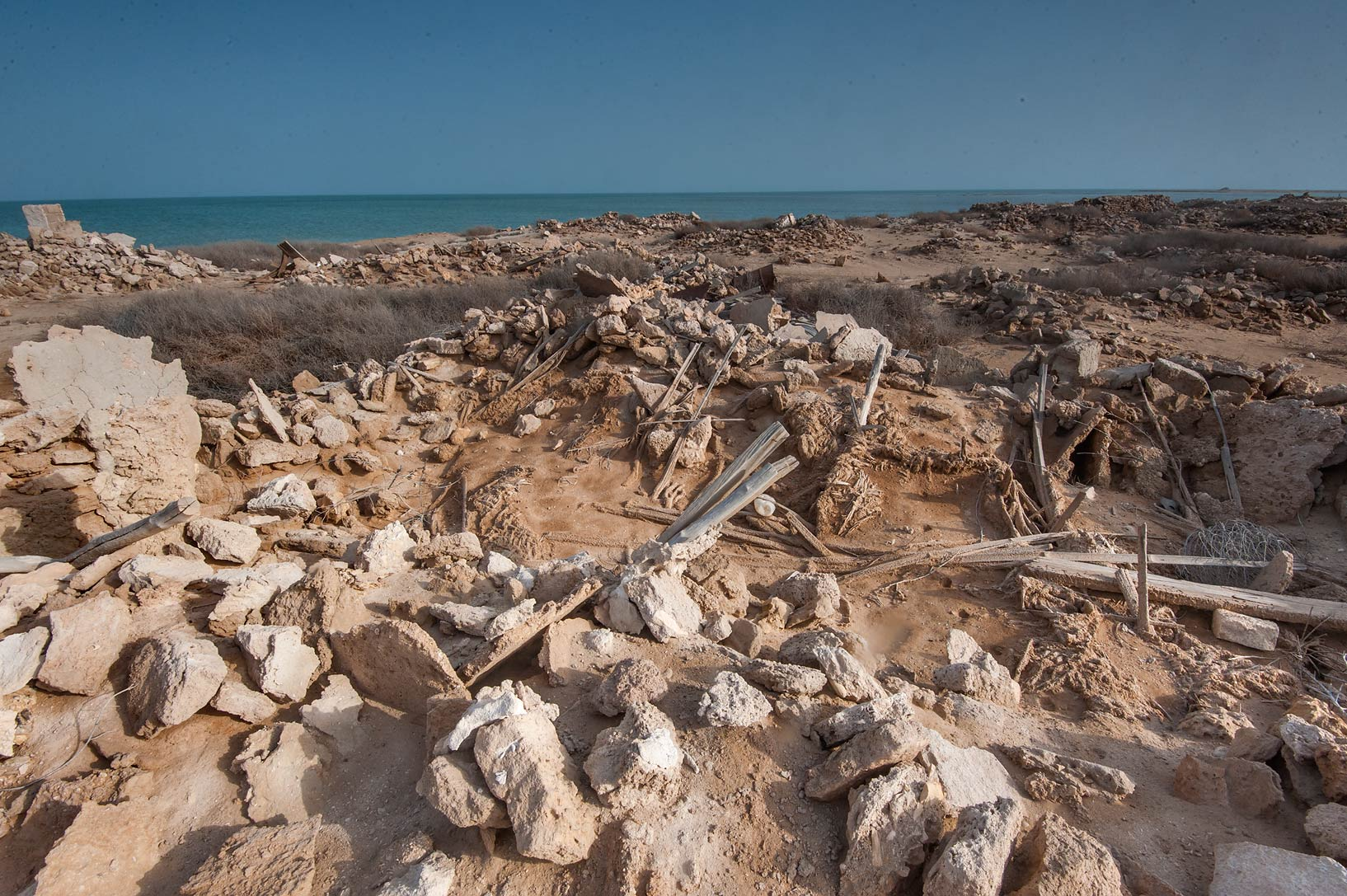 Remains of a wooden roof in old fishing village...from Lekhwair on northern coast. Qatar