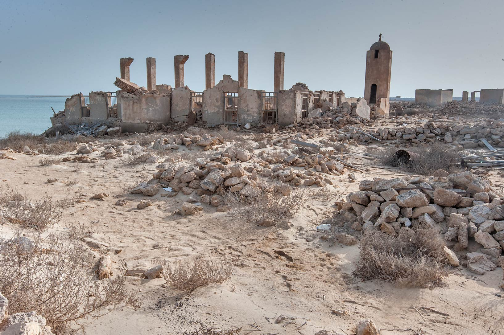 Remains of a mosque with traditional columned...from Lekhwair on northern coast. Qatar