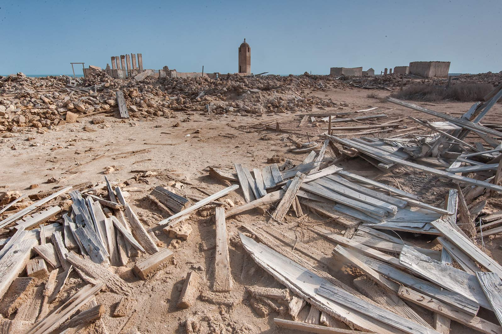 Remains of wooden houses in old fishing village...from Lekhwair on northern coast. Qatar