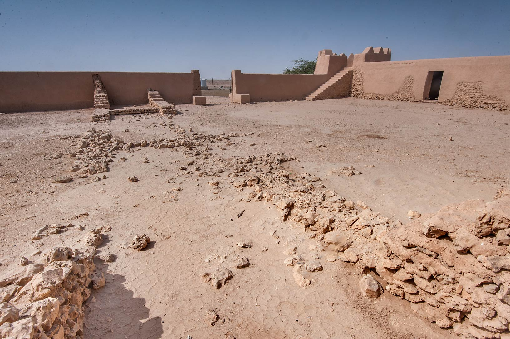 Courtyard of Al-Rekayat Fort in Umm Jasim area. Northern Qatar