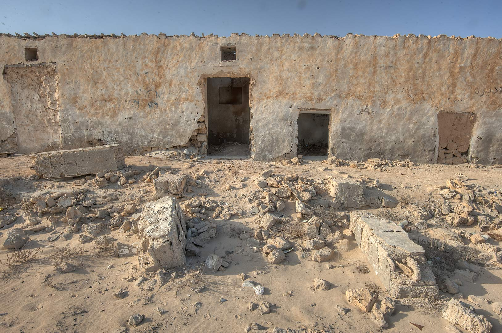 Narrow stone house in northern side in old...eastern coast, Ash Shamal area. Qatar