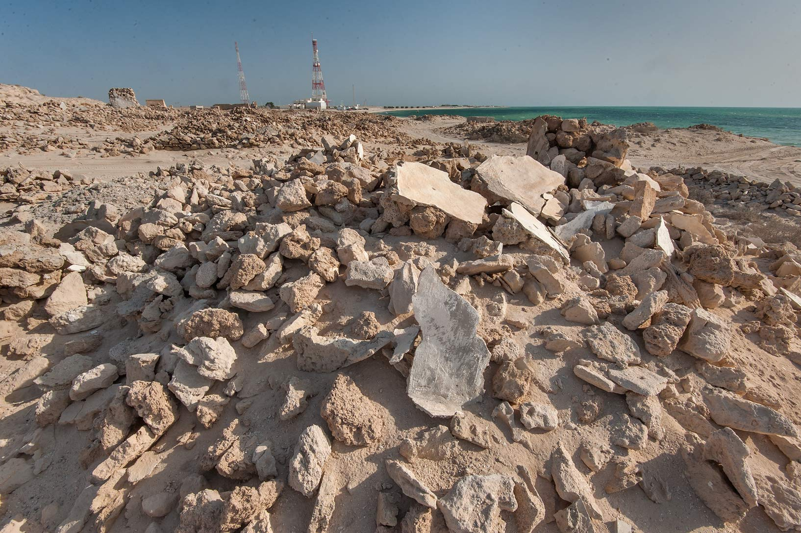 Stone pile in old fishing village (ghost town) of...eastern coast, Ash Shamal area. Qatar