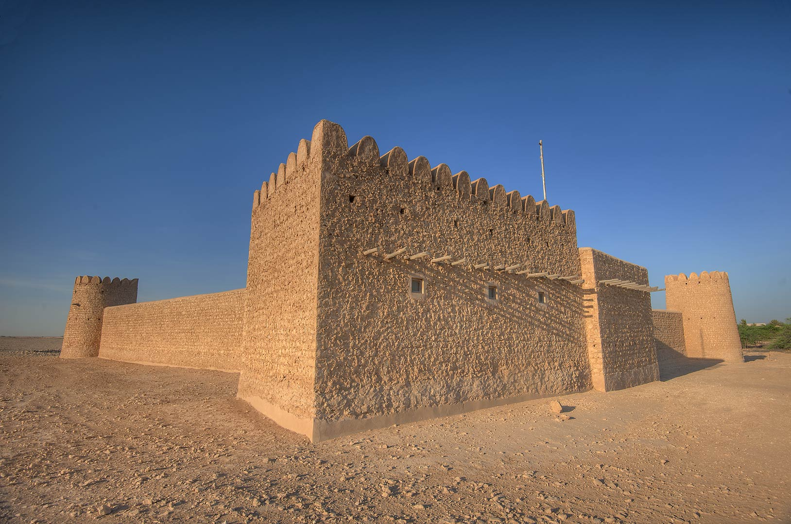 Rectangular tower of Al Thugab Fort. North-west coast, Qatar