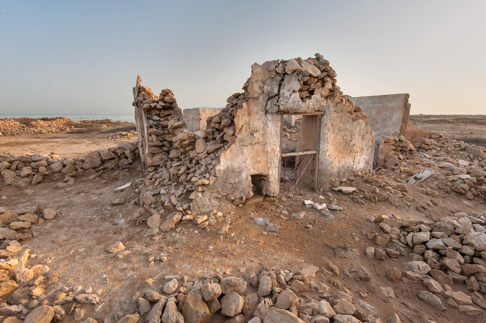 Ruins in a fishing village of Al Jumail (Jumayl) west of Ruwais. Northern Qatar