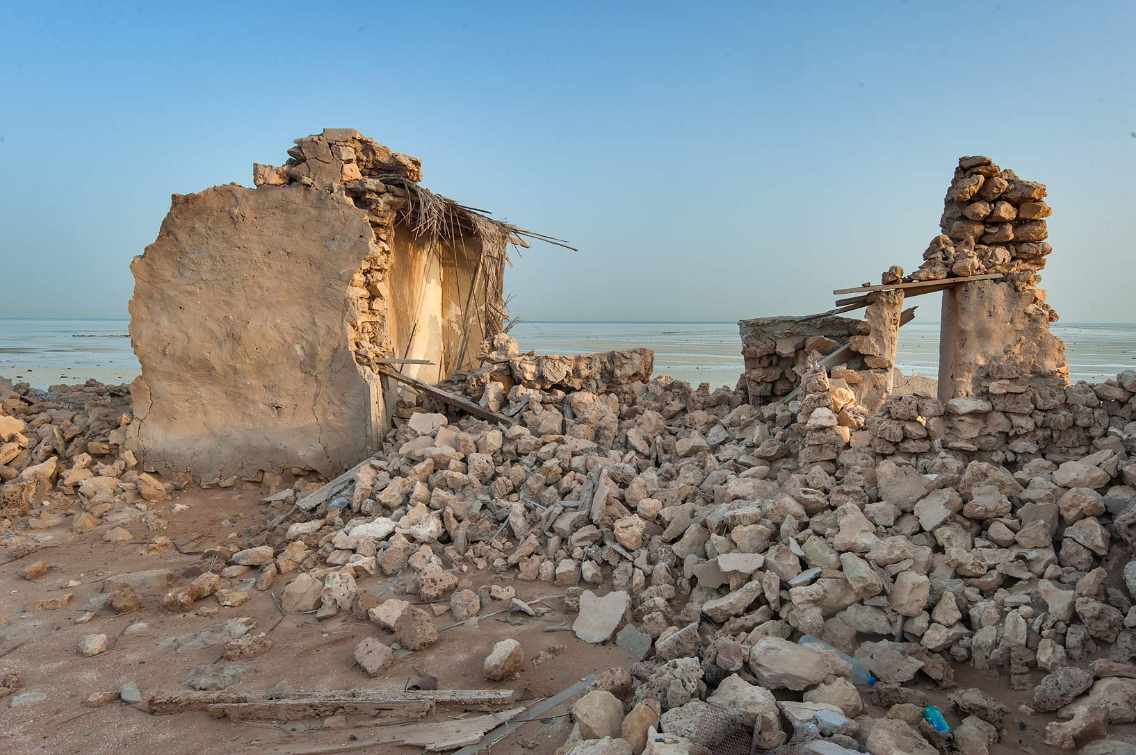 Ruins of a stone house in a village of Al Jumail (Jumayl) west of Ruwais. Northern Qatar